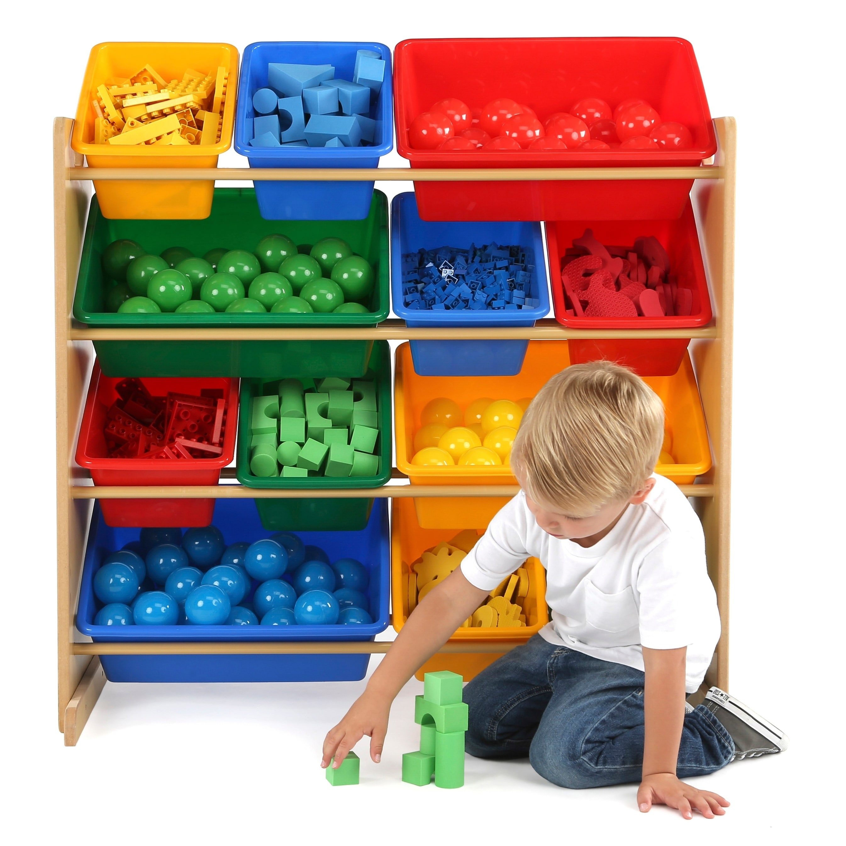 Tot Tutors Kids Wood Toy Storage Organizer With 12 Plastic