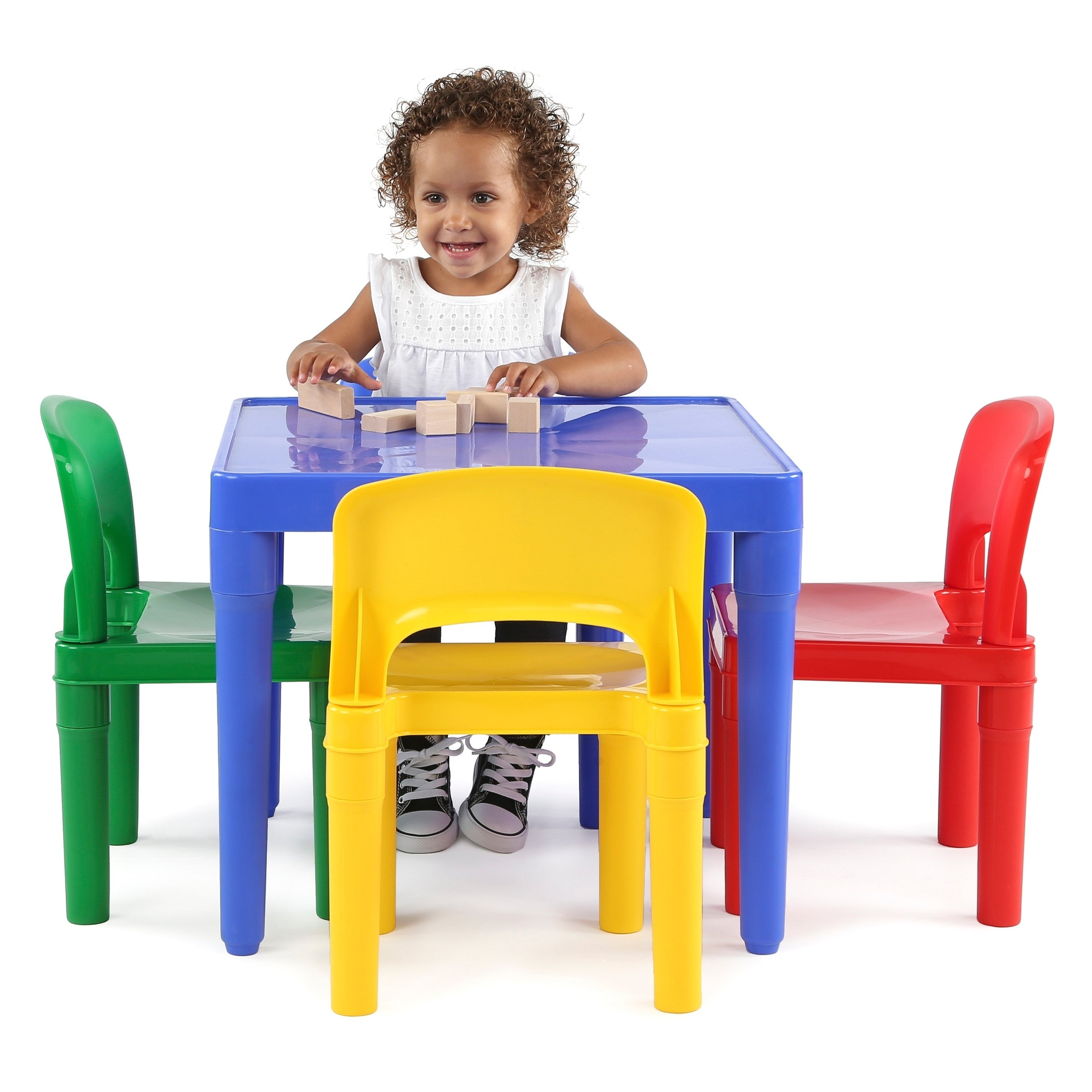 Shop Tot Tutors Kids Plastic Table and 4 Chairs Set, Vibrant Colors ...
