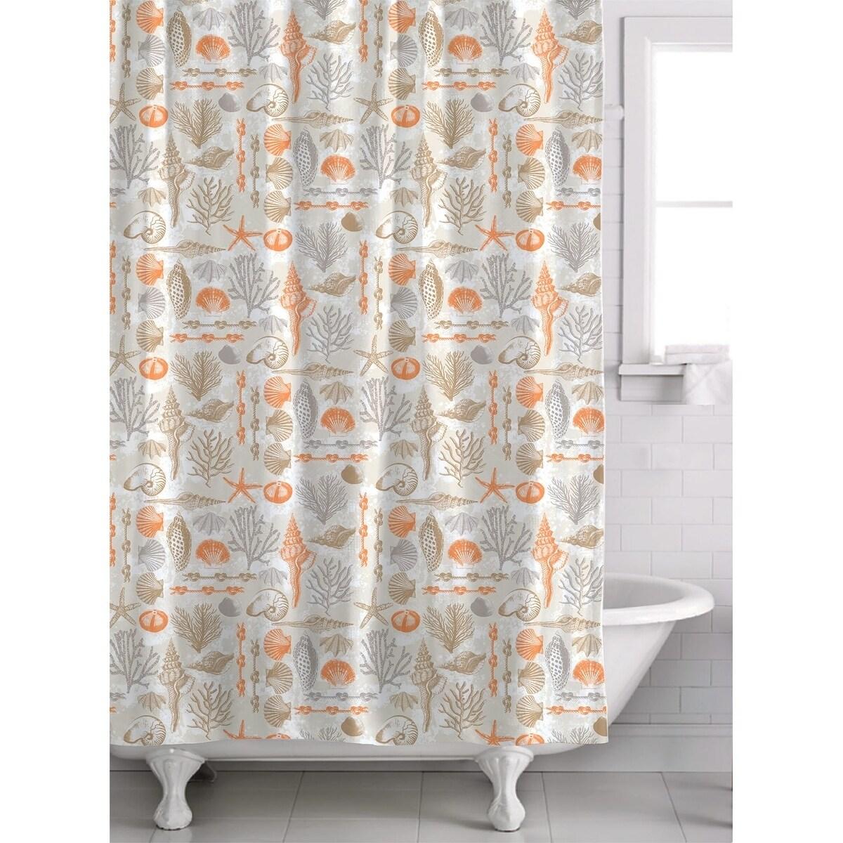 Shop Reef Point 13 Piece Fabric Shower Curtain Roller Ball Hook Set