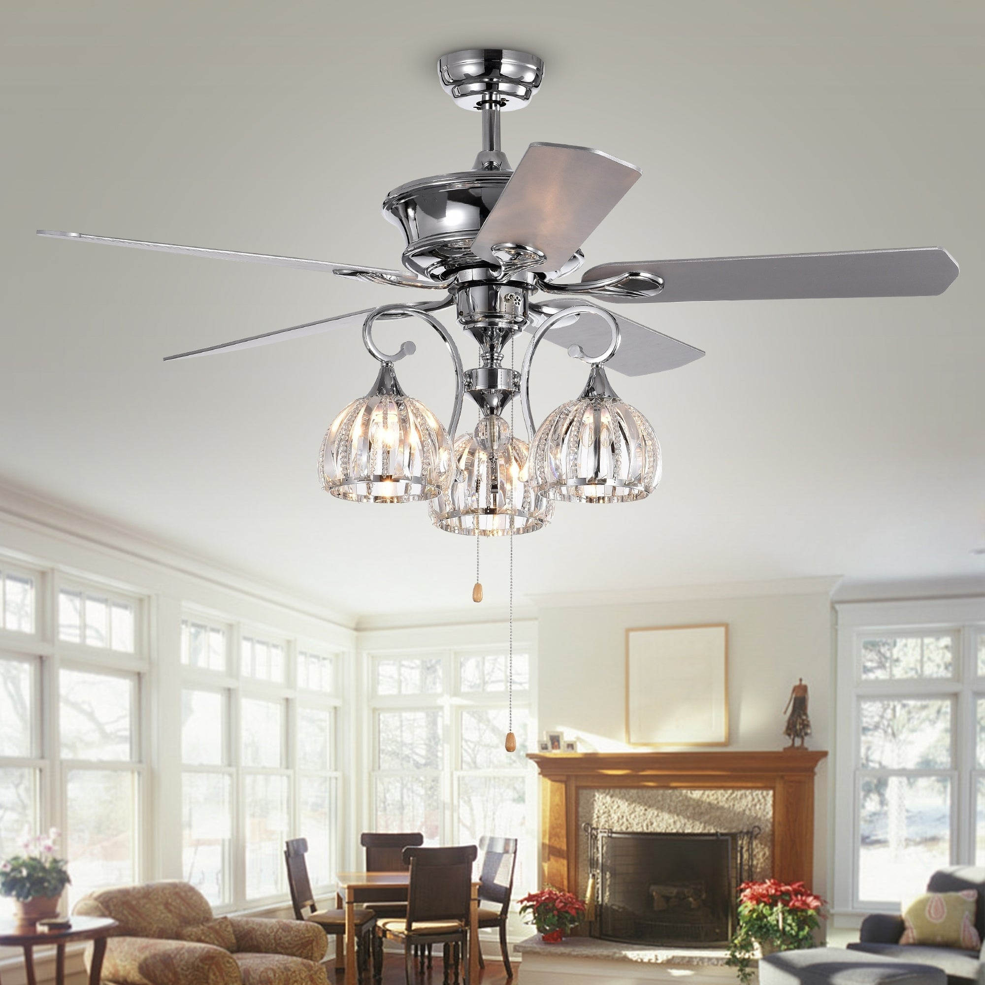 Shop Mavyn 5 Blade 52 Inch Chrome Ceiling Fan With 3 Light Crystal  Chandelier (Optional Remote)   On Sale   Free Shipping Today    Overstock.com   22108334