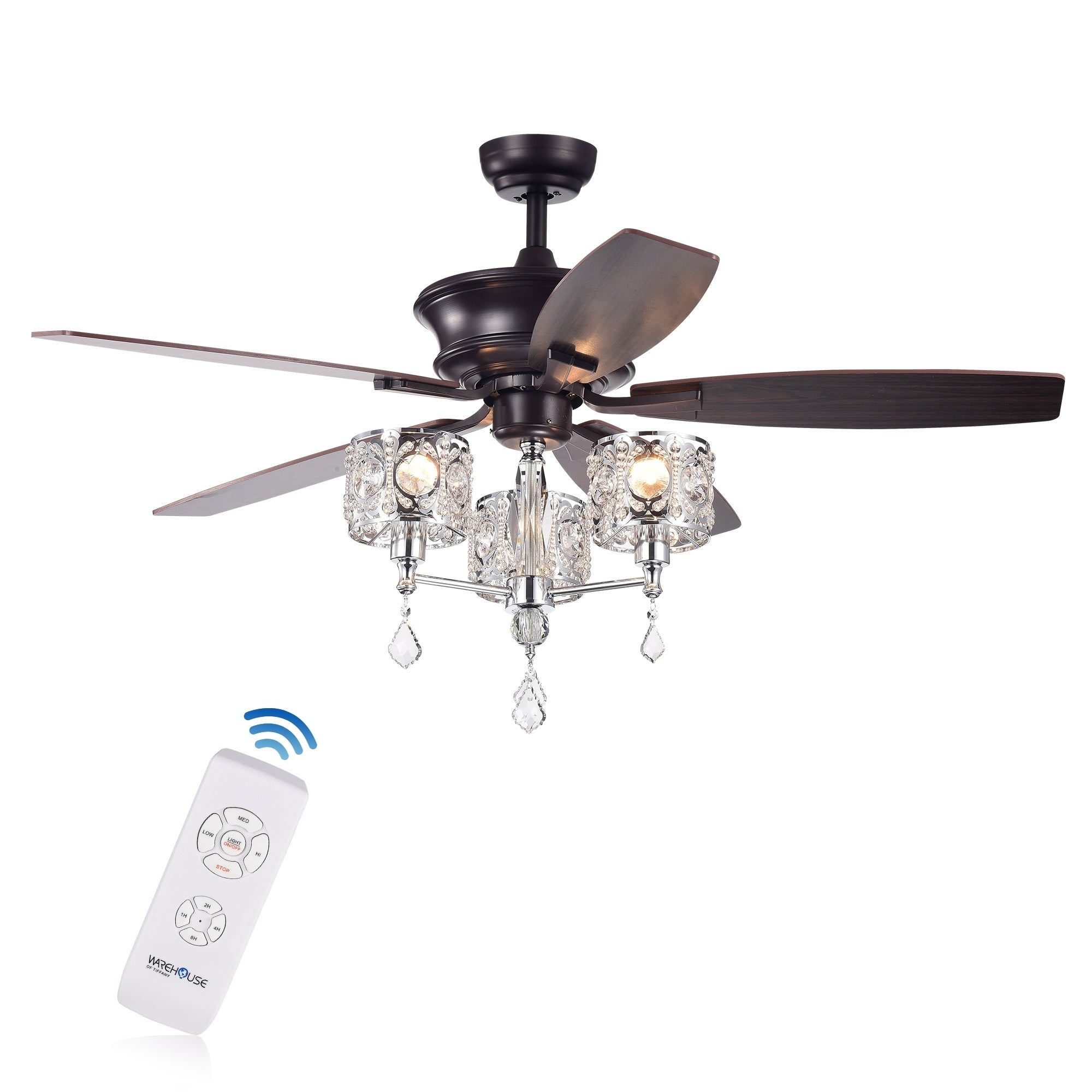 Tibedo 5 Blade 52 Inch Dark Brown Ceiling Fan With 3 Light Crystal And Chrome Chalice Chandelier Remote Controlled On Free Shipping Today