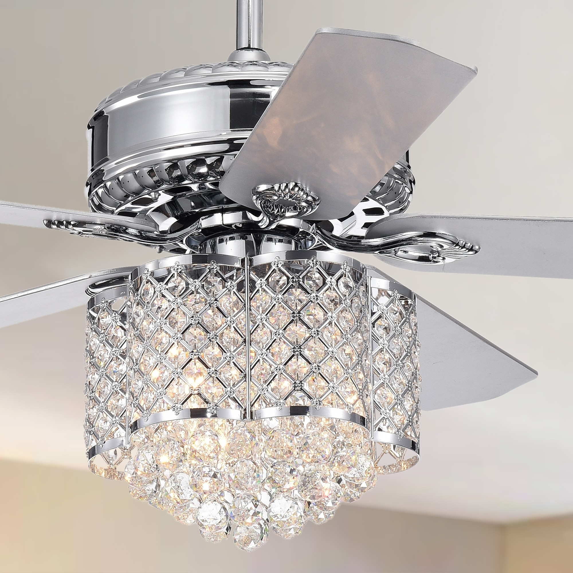 Deidor 5 blade 52 inch chrome ceiling fan with 3 light crystal chandelier remote controlled 2 color option