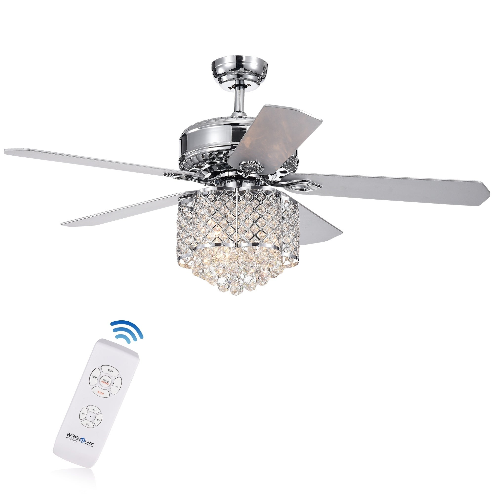 Shop Deidor 5 Blade 52 Inch Chrome Ceiling Fan With 3 Light Crystal Google On Wires And Wiring A Without Chandelier Remote Controlled Free Shipping Today 22108345