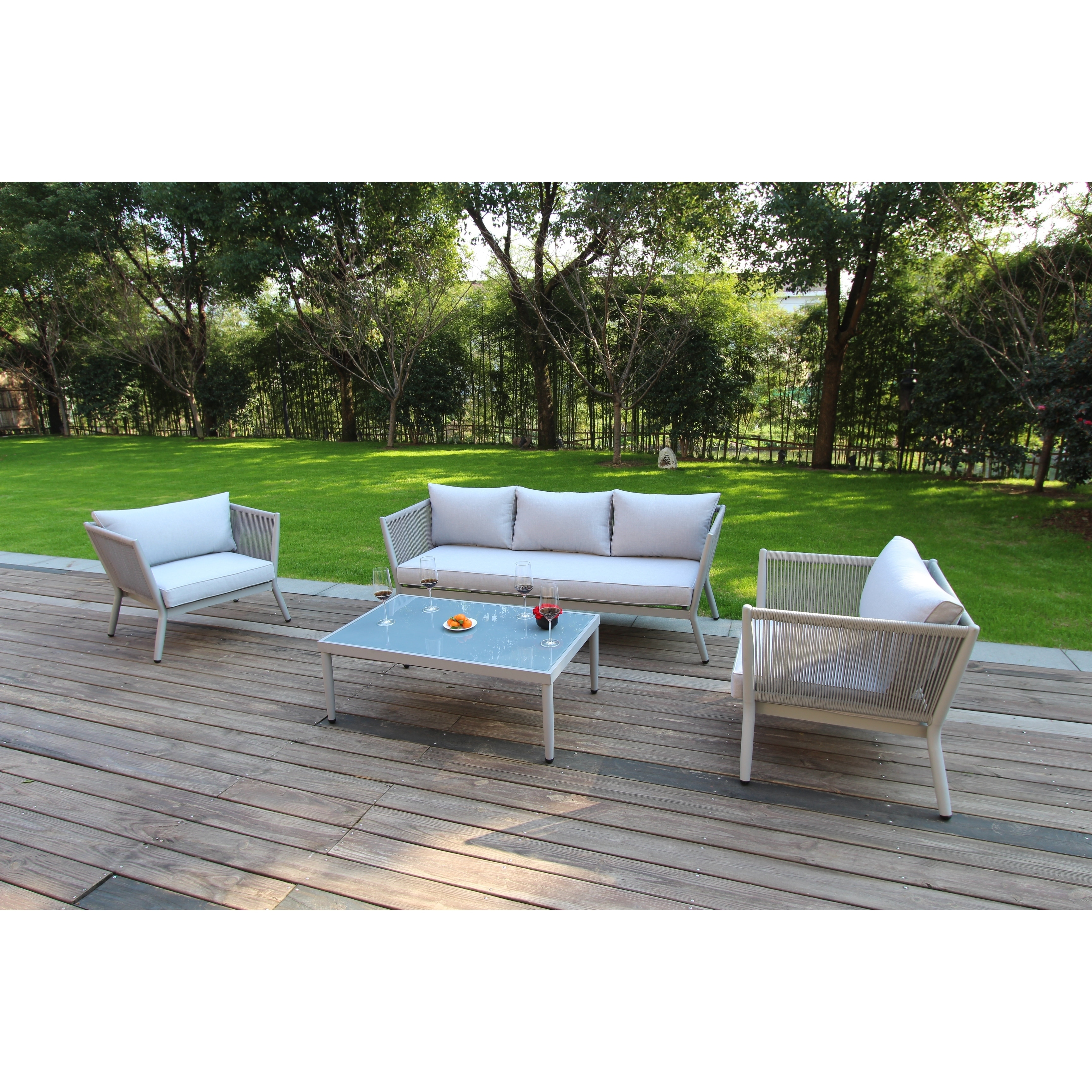 Rope Patio Furniture.Greenwich Woven Rope 4 Pc Estate Sized Deep Seating Set In French Grey