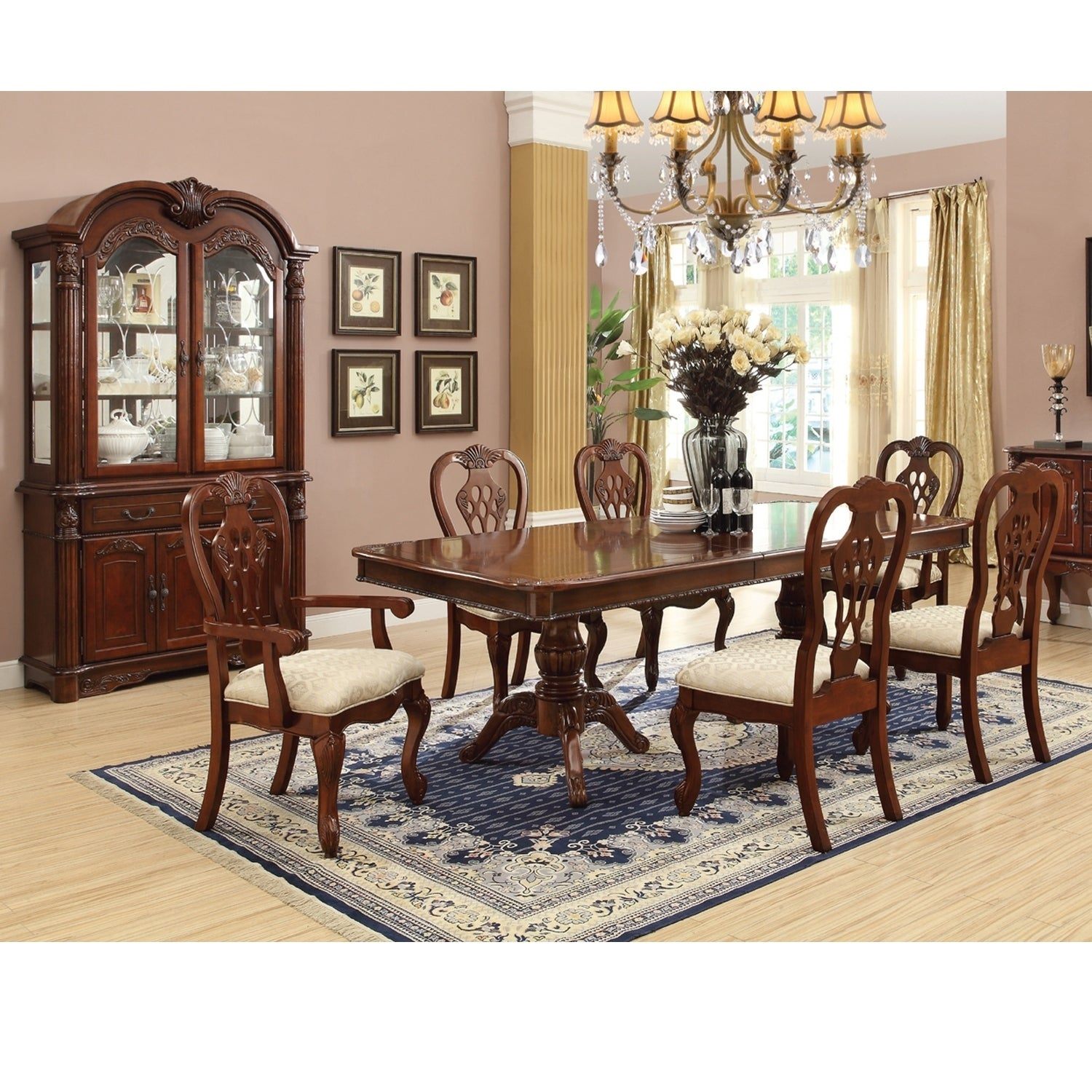 Shop Home Source Antique Cherry 9 Piece Dining Room With 1 Table 4 Side Chairs 2 Arm Buffet And Hutch
