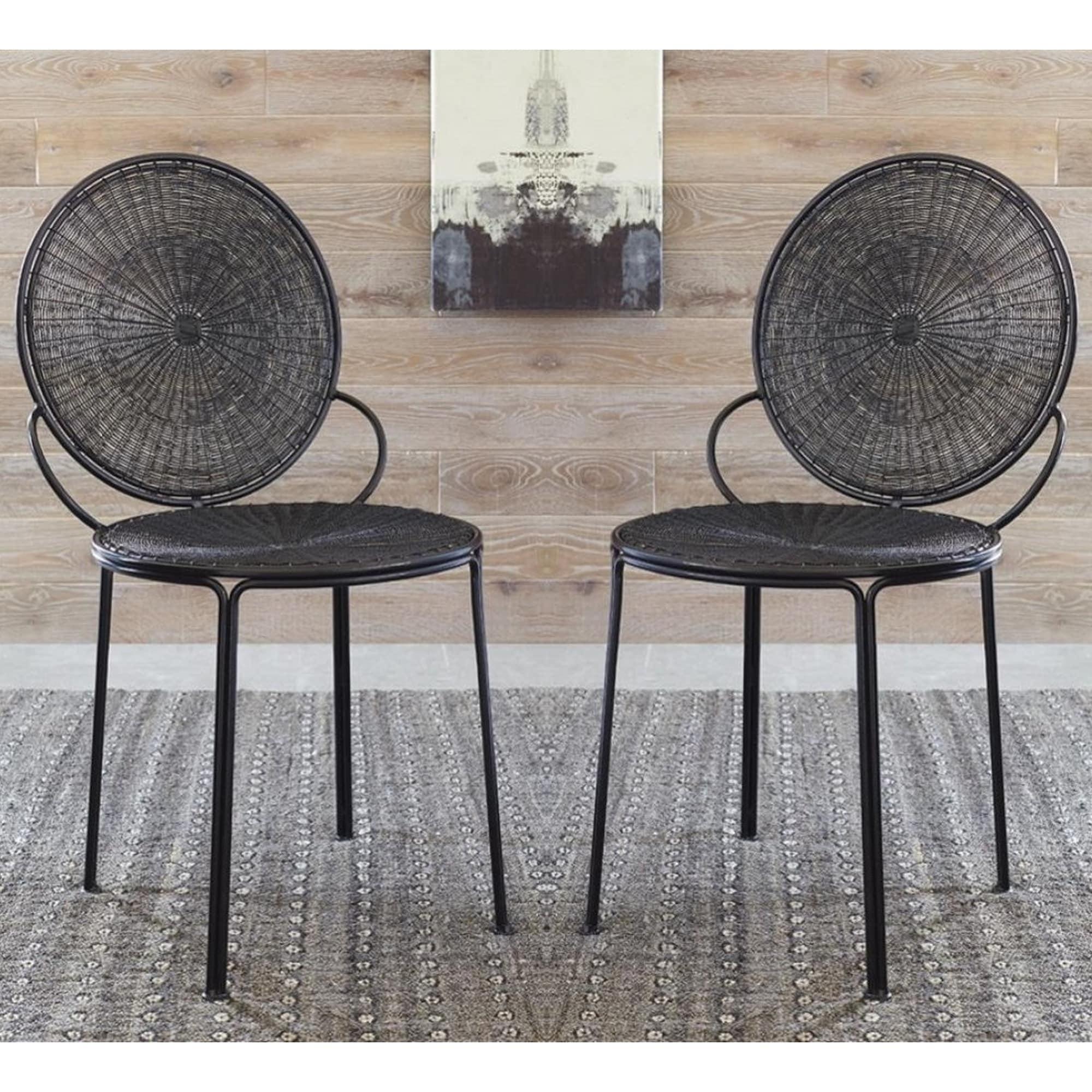 Modern Web Design Black Iron Accent Chairs (Set Of 2)