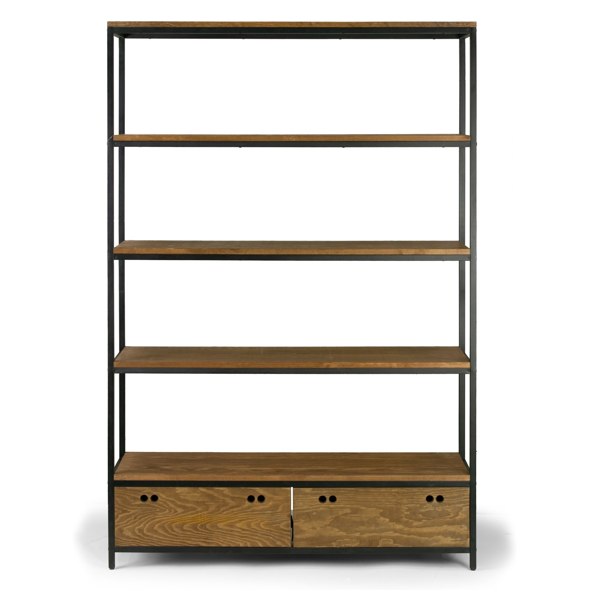 5511e4daa1331 Shop Alta Brown Pine Wood Display Shelf Etagere Bookcase with Drawers -  Free Shipping Today - Overstock - 22122497
