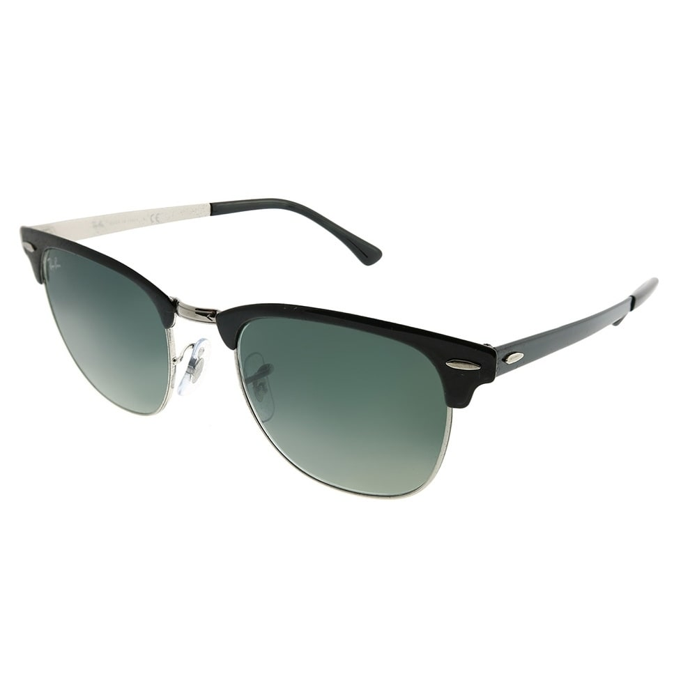 5f10d3764a Ray-Ban Clubmaster RB 3716 Clubmaster Metal 900471 Unisex Black on Silver  Frame Grey Gradient Lens Sunglasses