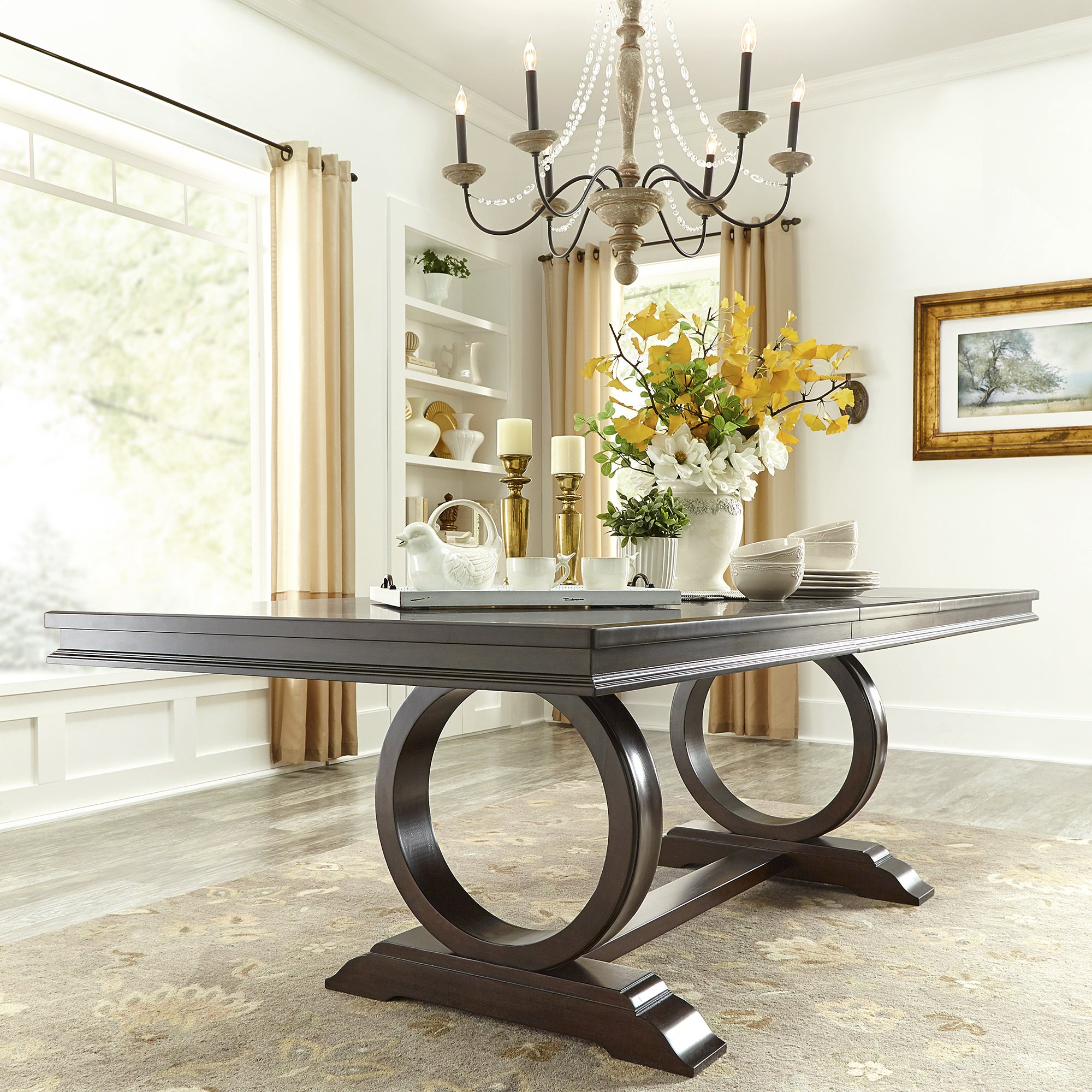 Shop Willa Dark Cherry Wood Extendable Trestle Base Dining Table By