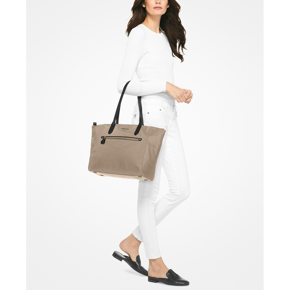 e8dd9366dd04a Shop MICHAEL Michael Kors Kelsey Large Top-Zip Tote Truffle - Free Shipping  Today - Overstock - 22161717