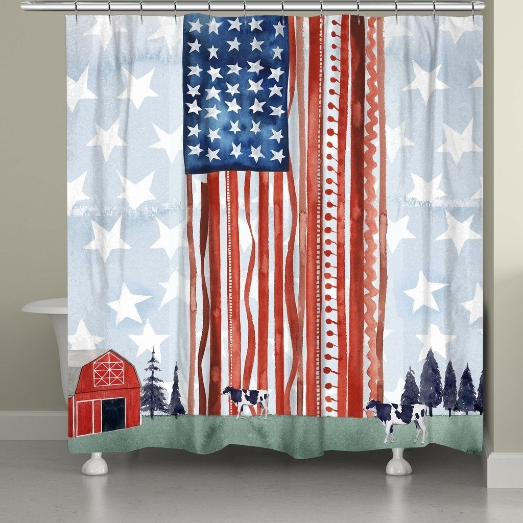 Shop Laural Home Americana Farm Shower Curtain - Free Shipping Today ...
