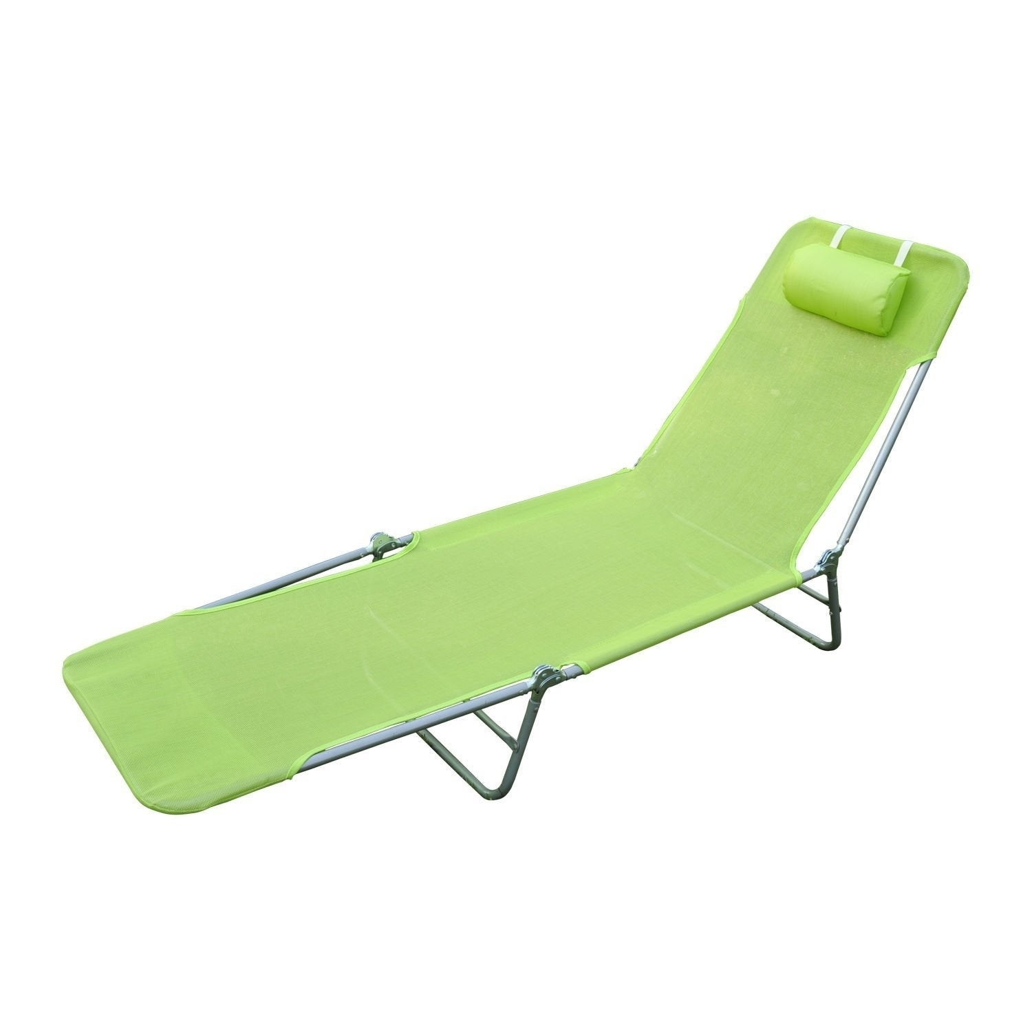 Outsunny Aluminum Lightweight Outdoor Patio Folding Chaise Lounge Chair Green