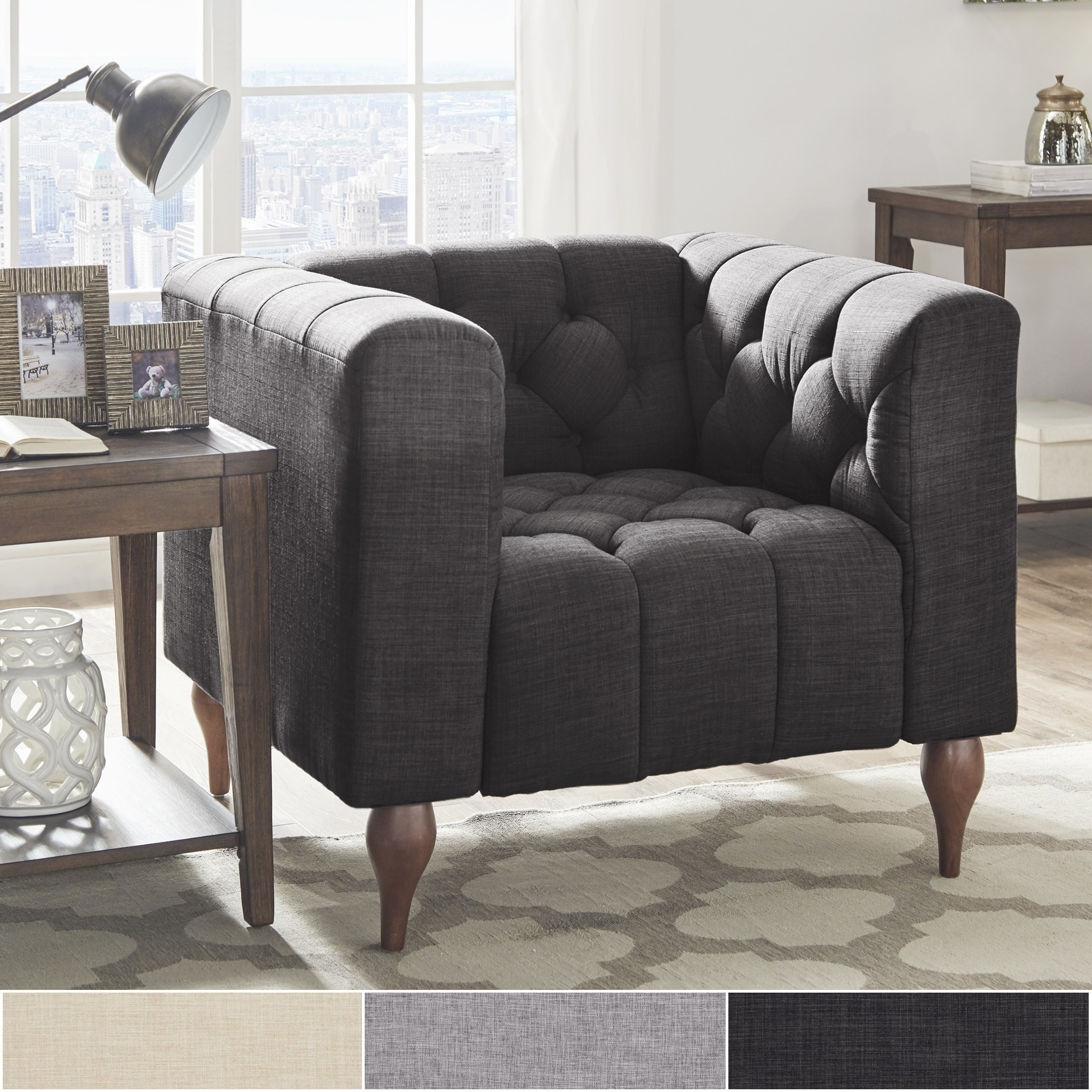 Shop Danise Tufted Linen Upholstered Tuxedo Arm Chair By INSPIRE Q Artisan    On Sale   Free Shipping Today   Overstock.com   22193731