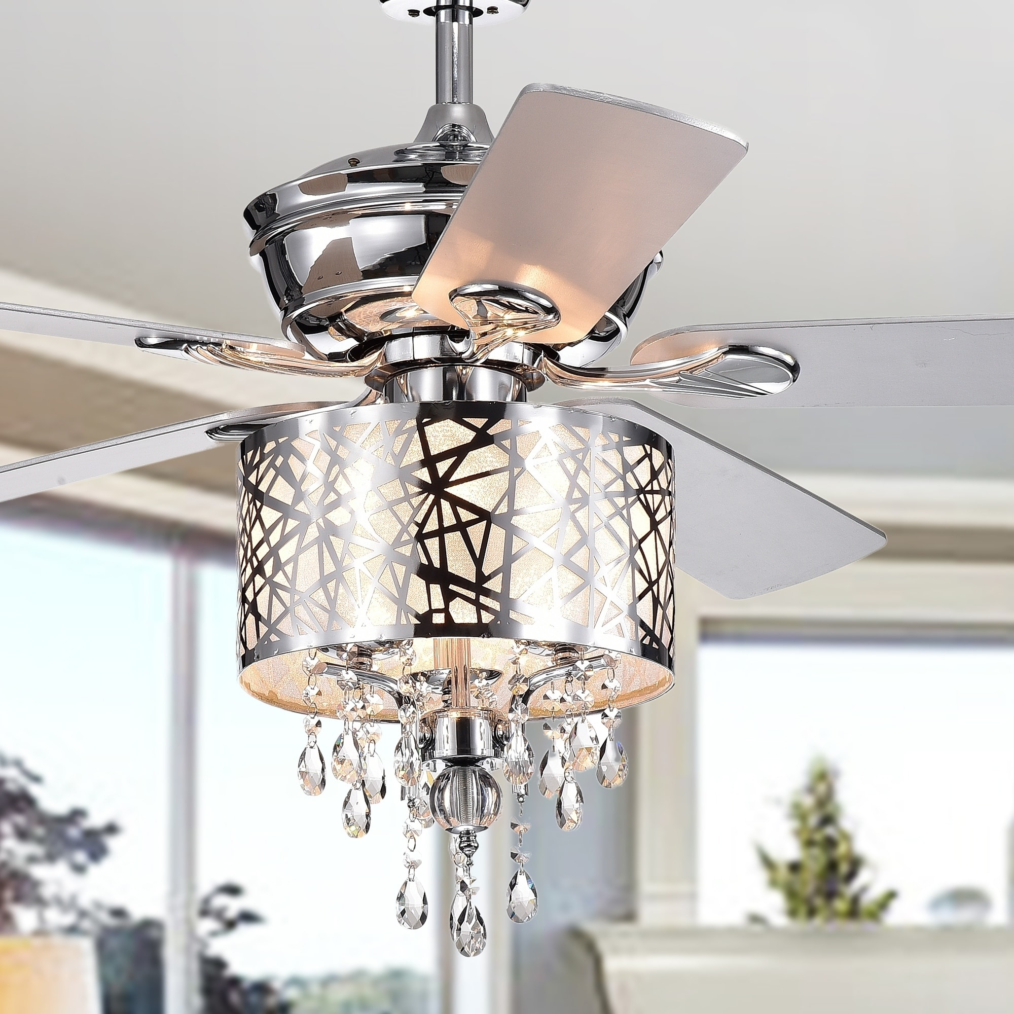 Garvey 5 blade 52 inch chrome ceiling fan with 3 light crystal chandelier remote controlled
