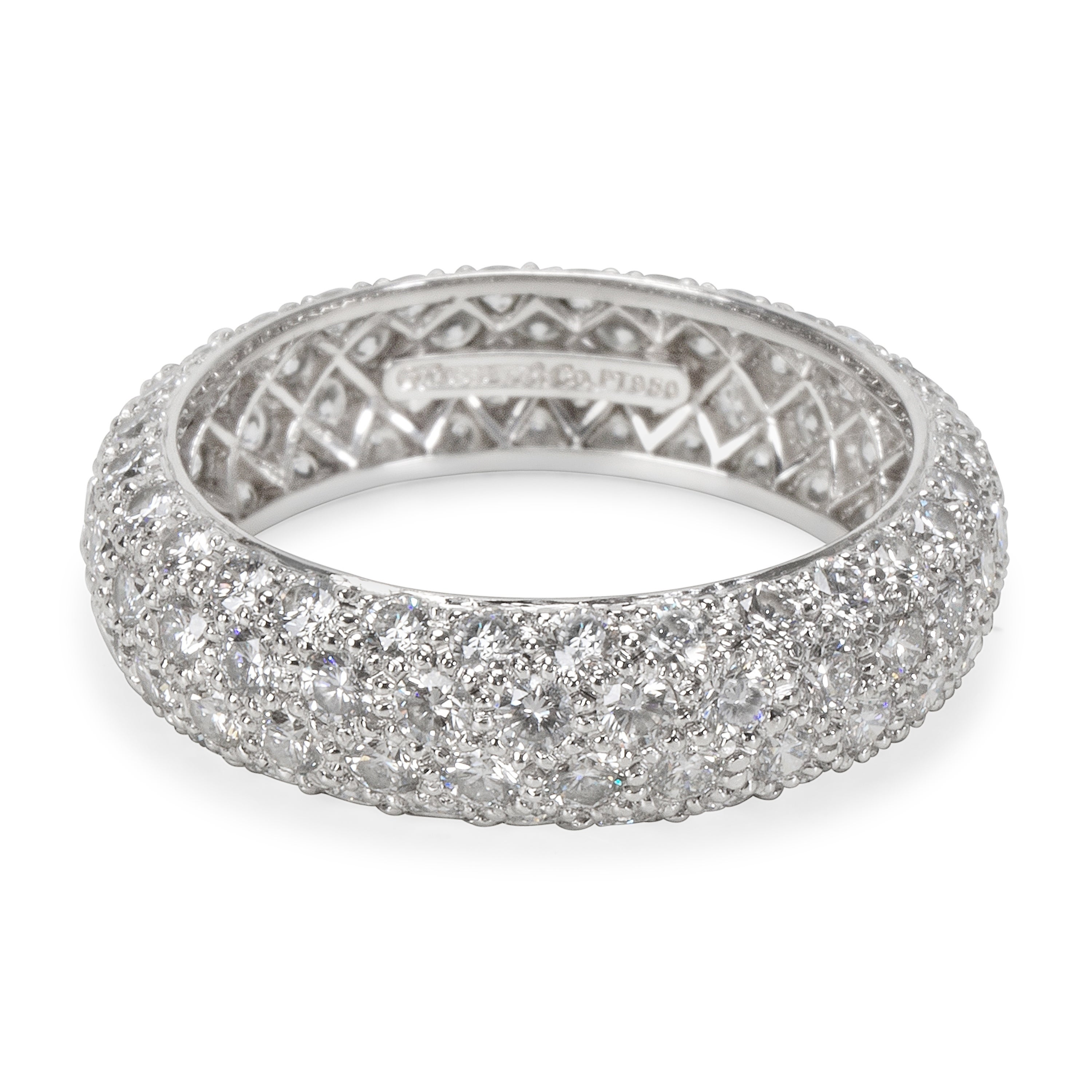 43bfaae95 Pre-Owned Tiffany & Co. Etoile 4 Rows Pave Diamond Ring in Platinum 2.90  Carats