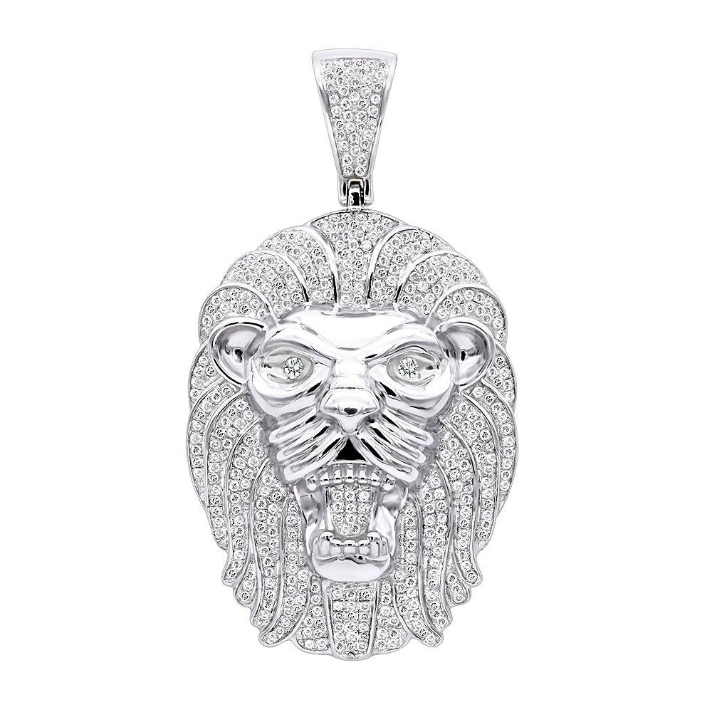 10k Gold Lion head diamond  Sterling Silver cufflinks