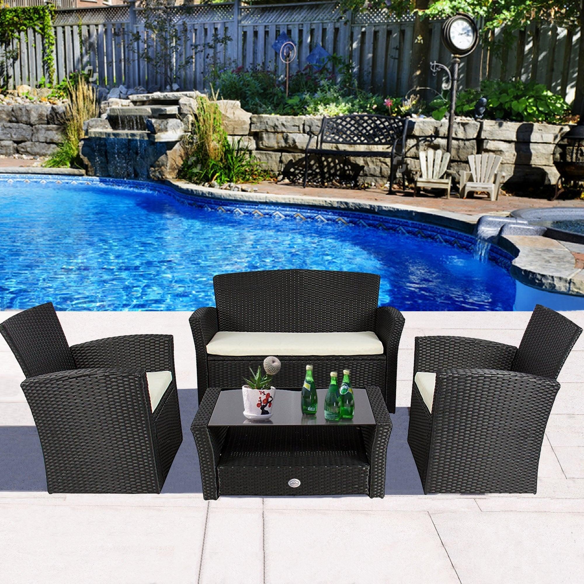Shop 4 Piece Outdoor Patio Furniture Sets Wicker Outdoor Furniture