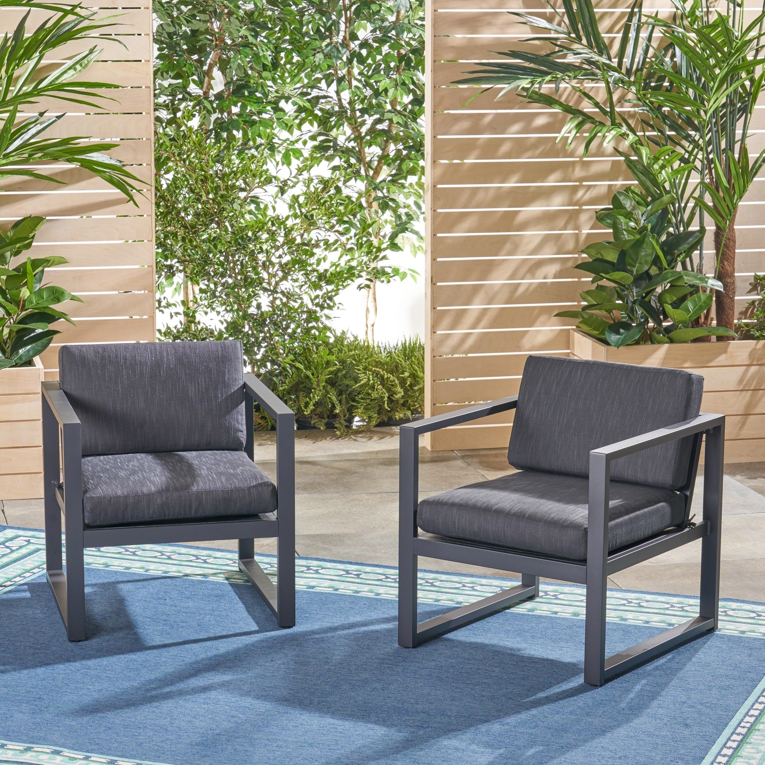 Navan Outdoor Aluminum Club Chairs Set Of 2 By Christopher Knight Home On Free Shipping Today 22207843