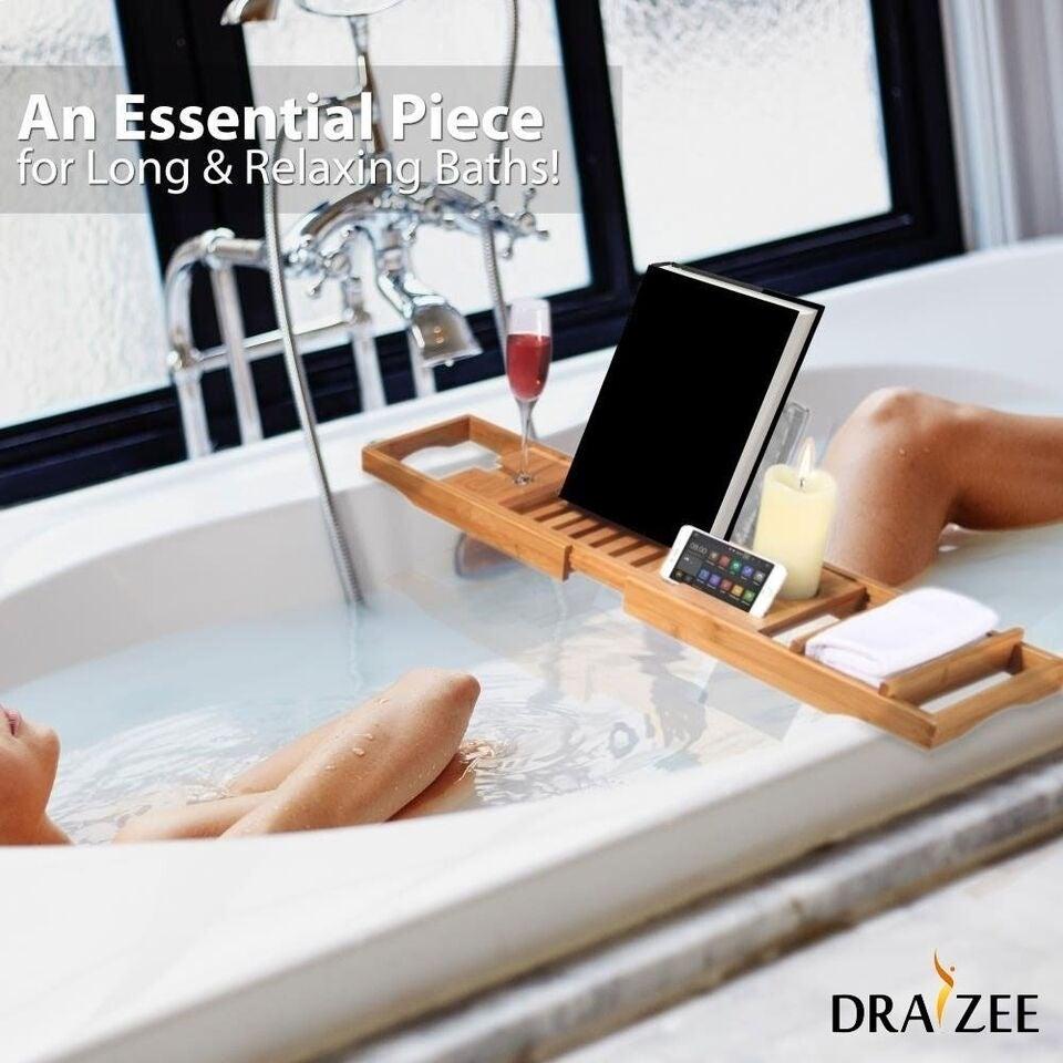 Shop Draizee Luxury Bamboo Adjustable Bathtub Caddy Natural, Wood ...
