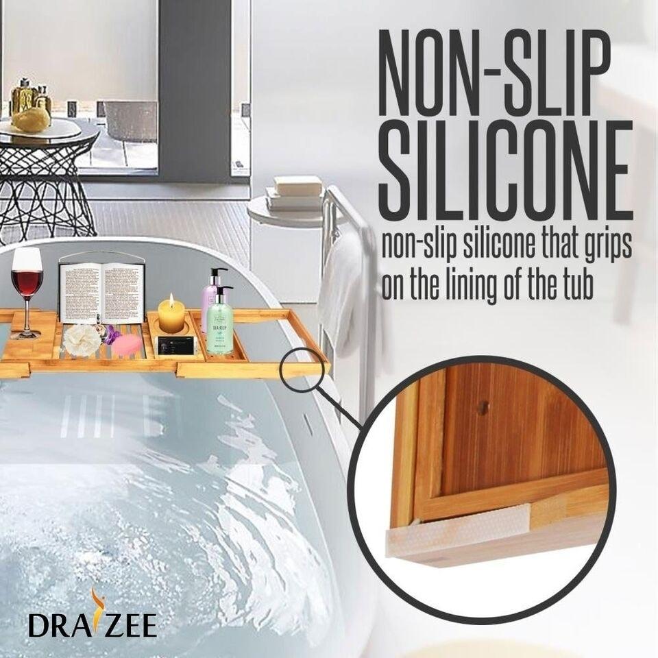 Draizee Luxury Bamboo Adjustable Bathtub Caddy Natural, Wood Brown ...