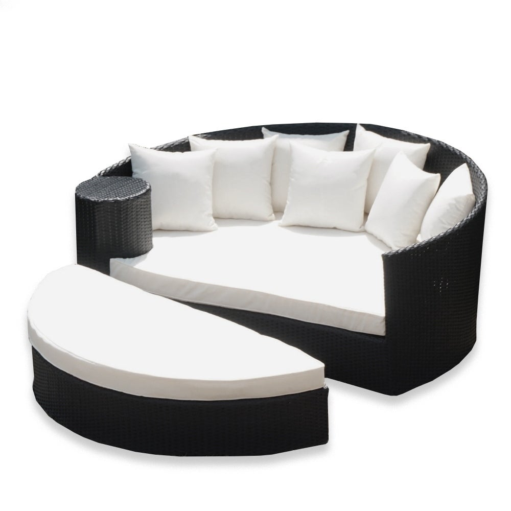 Aleko rattan wicker furniture outdoor daybed set with ottoman