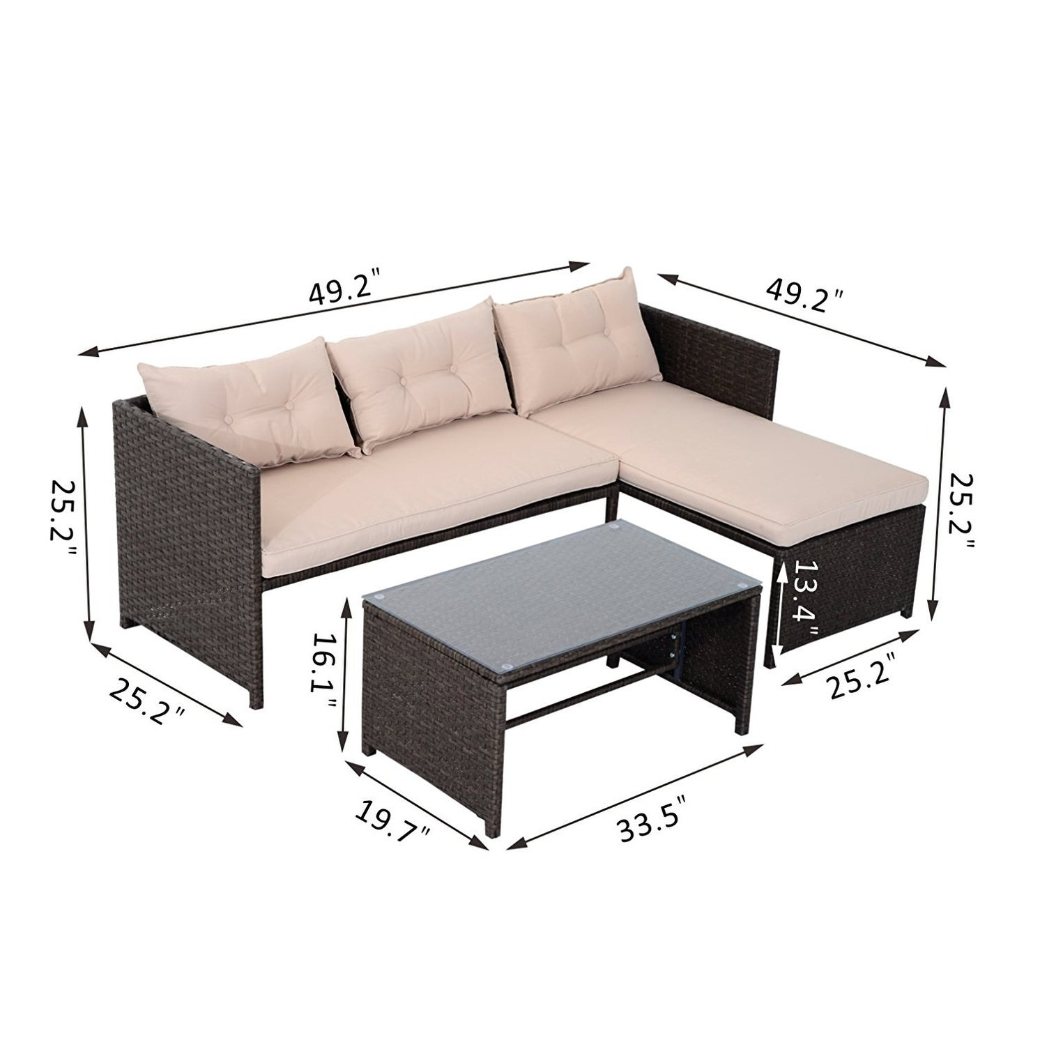 Shop Outsunny Brown Tan Rattan Wicker 3 Piece Outdoor Patio Sofa And