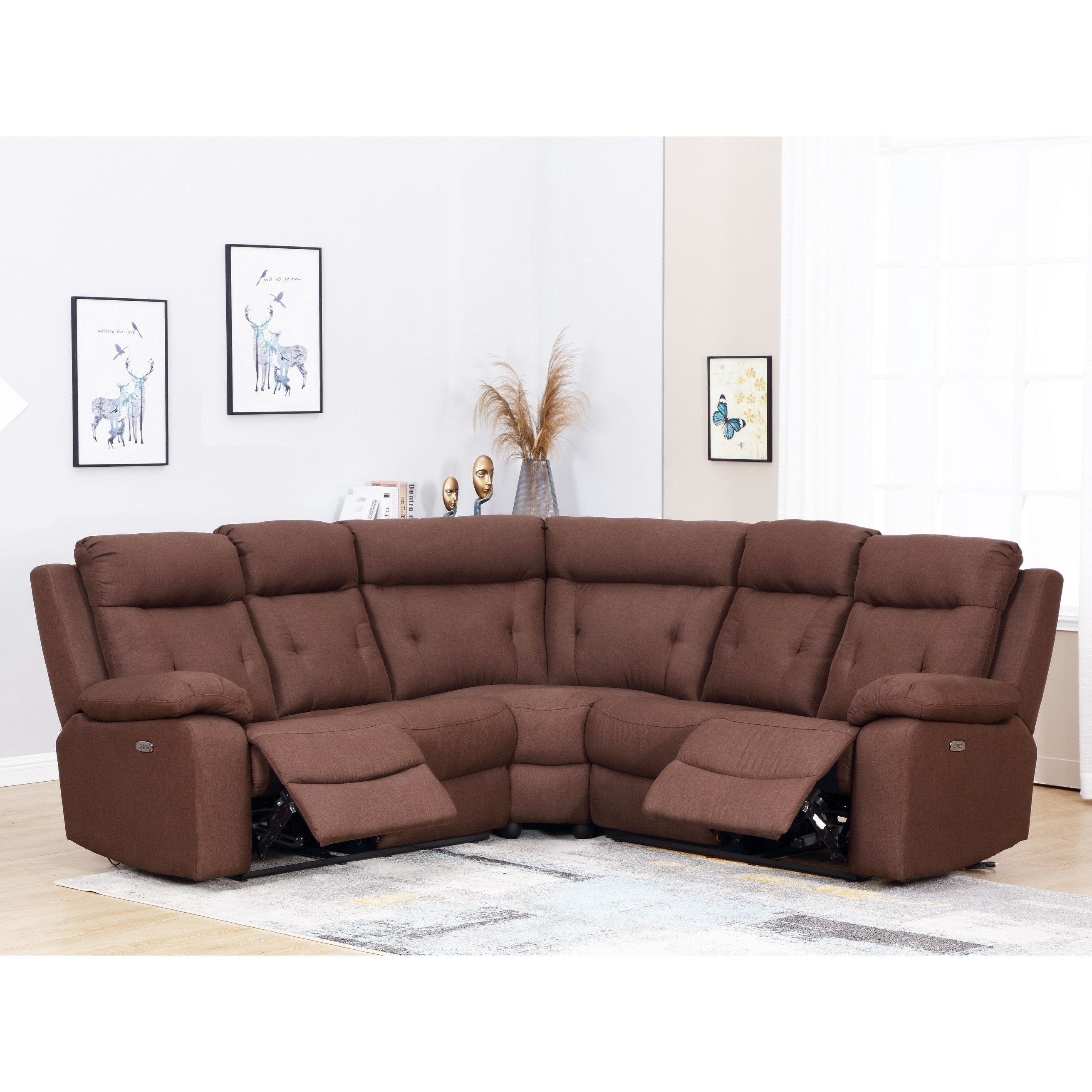 Shop Brown Microfiber Upholstered Power Reclining Sectional On