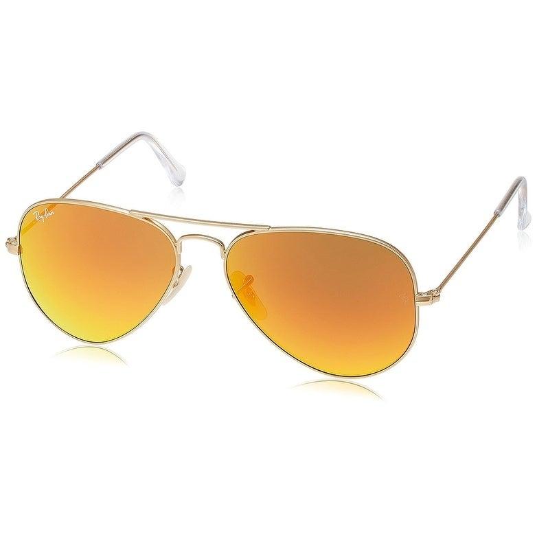 181aaa3ca60 Ray-Ban RB3025 Aviator Gold Frame Orange Flash 55mm Lens Sunglasses