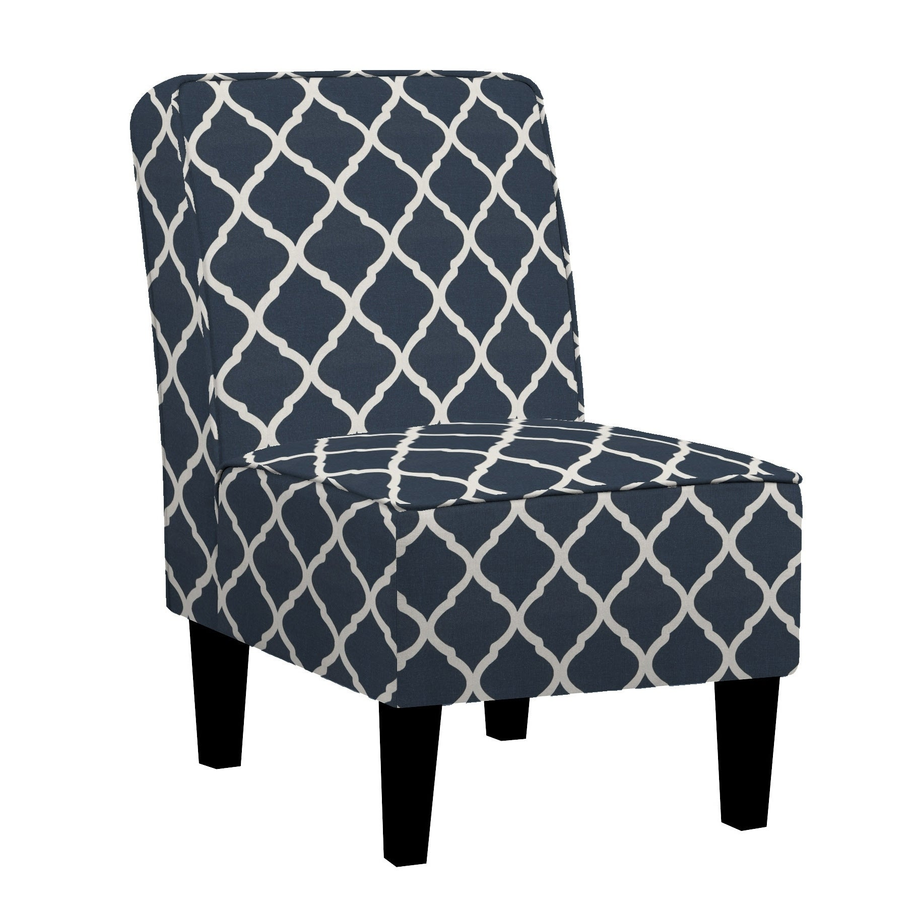 Handy living brodee armless chair in navy blue trellis