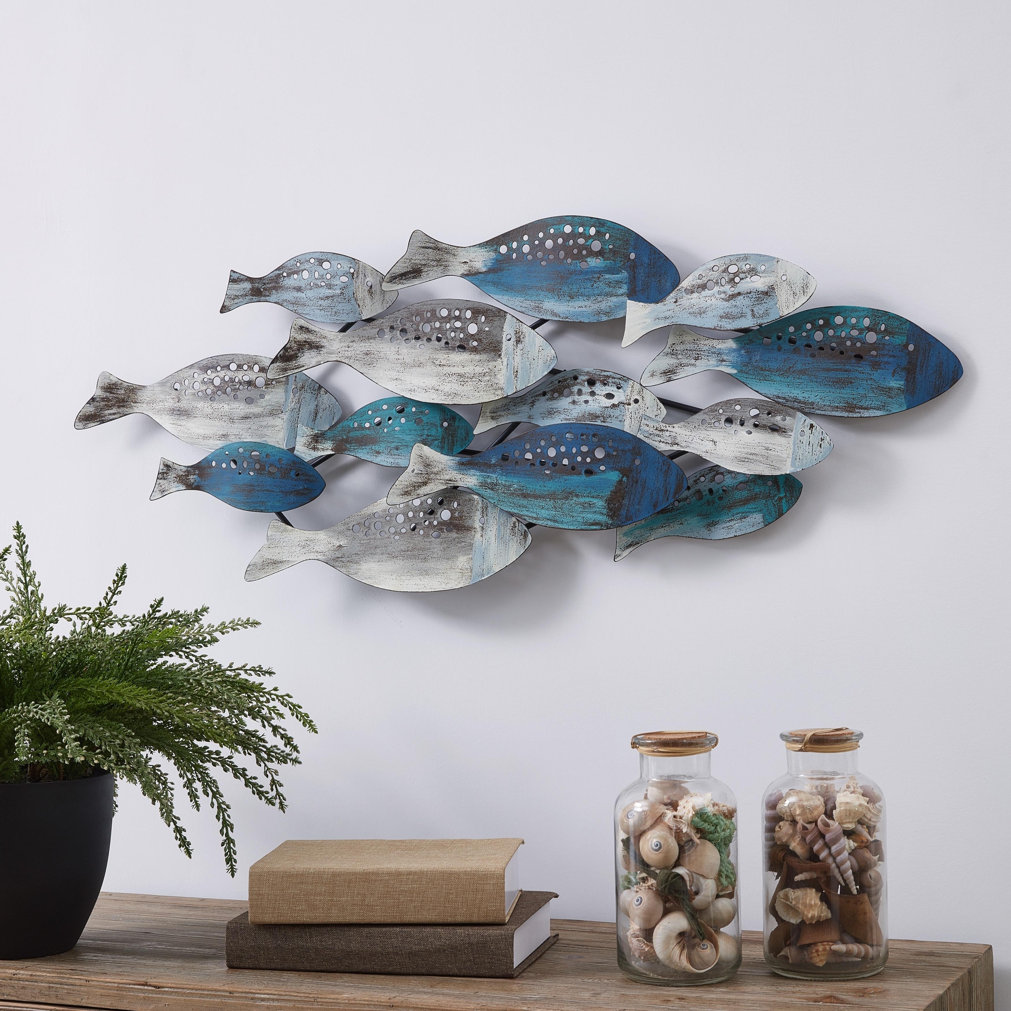 Dolphin Wall Art Decor w//mirrors /& Acrylic Jewels nautical