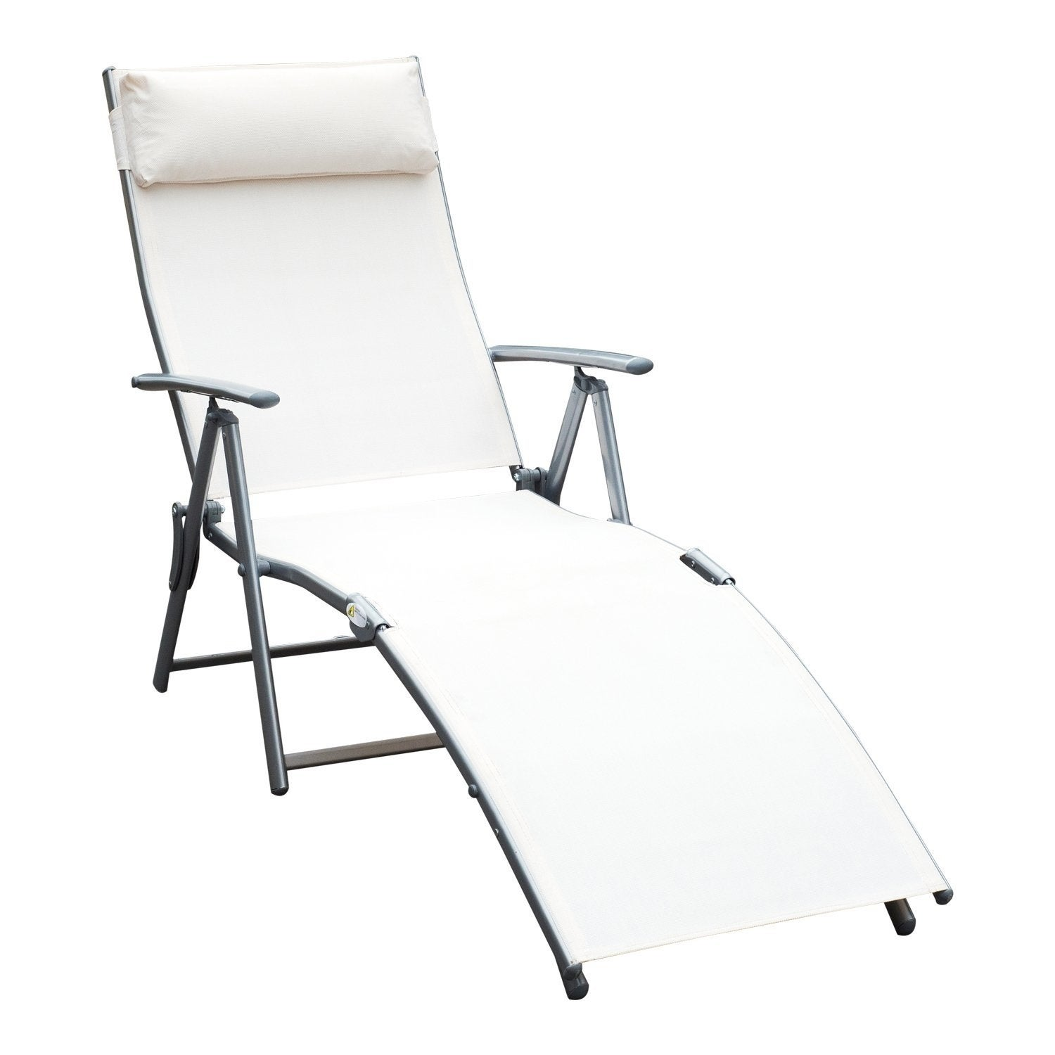 Shop Outsunny Steel Sling Fabric Outdoor Folding Chaise Lounge Chair  Recliner   Cream White   On Sale   Free Shipping Today   Overstock.com    22258498