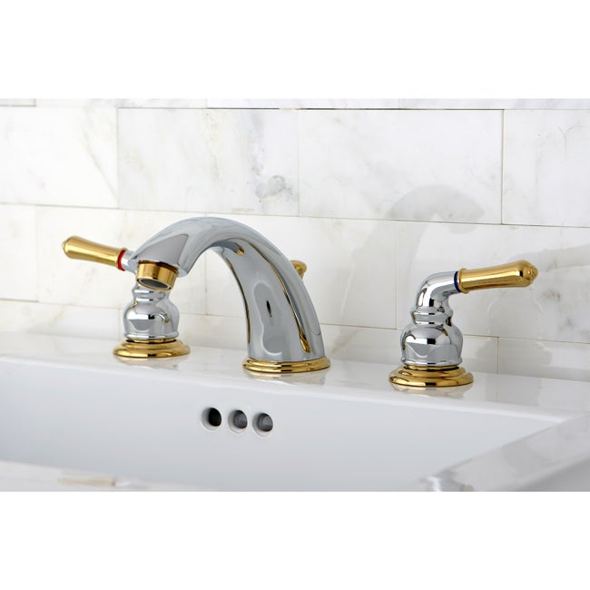 Shop Chrome/ Polished Brass Widespread Bathroom Faucet   Free Shipping  Today   Overstock.com   2226147
