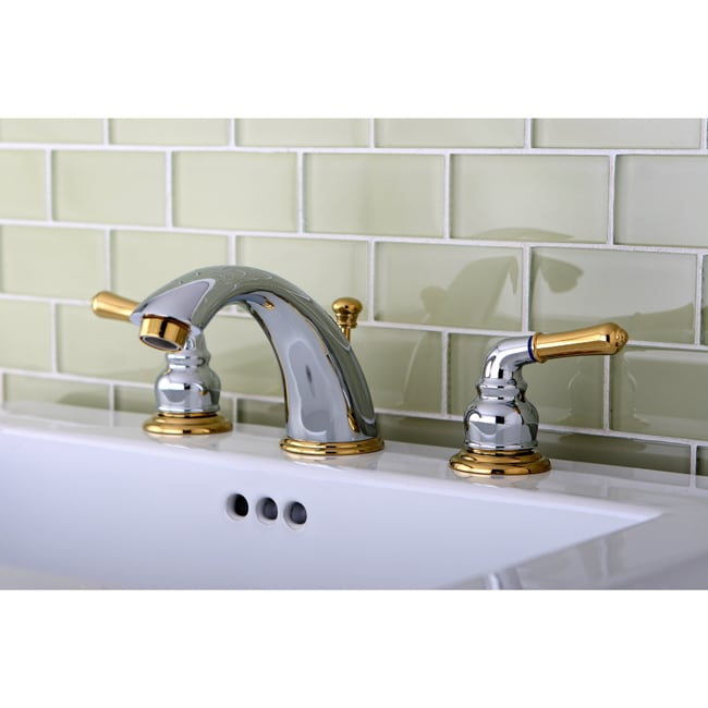 Chrome/ Polished Brass Widespread Bathroom Faucet - Free Shipping ...