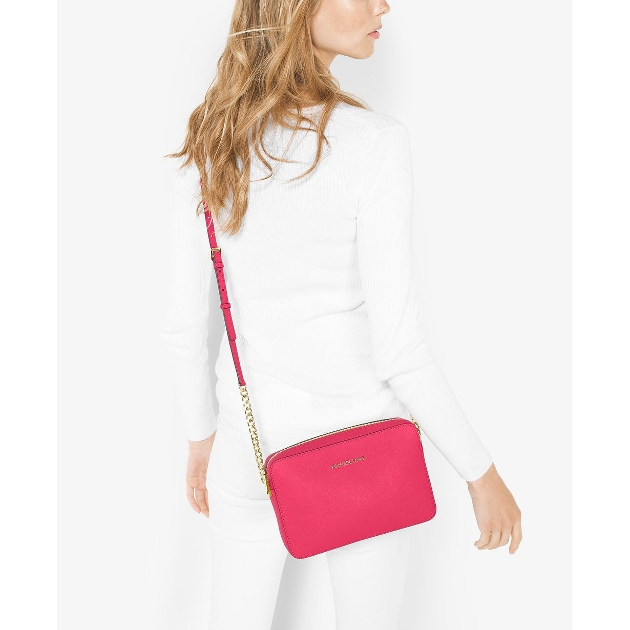 233264eee744 Shop MICHAEL Michael Kors Jet Set Travel Large Crossbody Rose Pink - On  Sale - Free Shipping Today - Overstock - 22277044