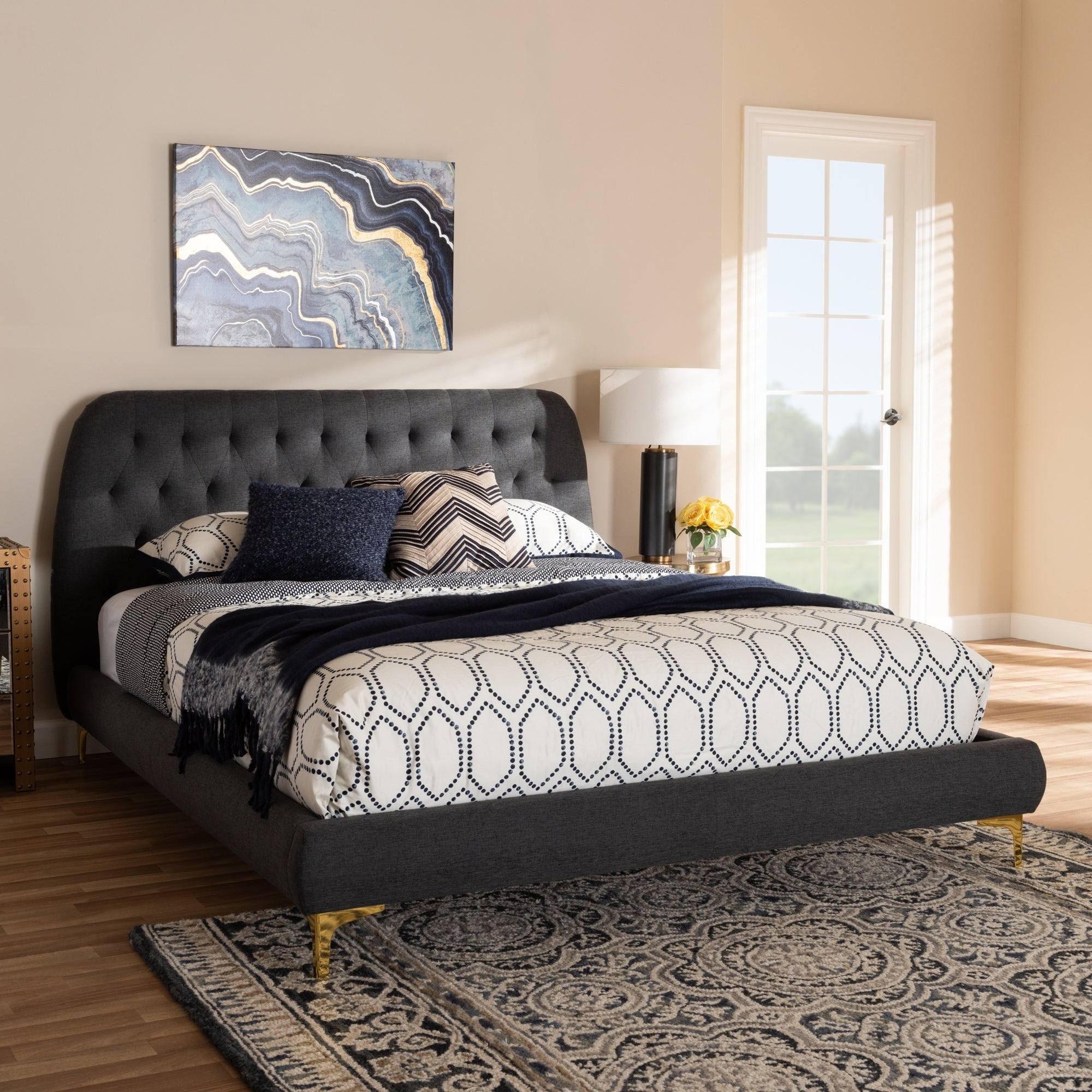 Glam Fabric And Gold Legs King Size Platform Bed By Baxton Studio