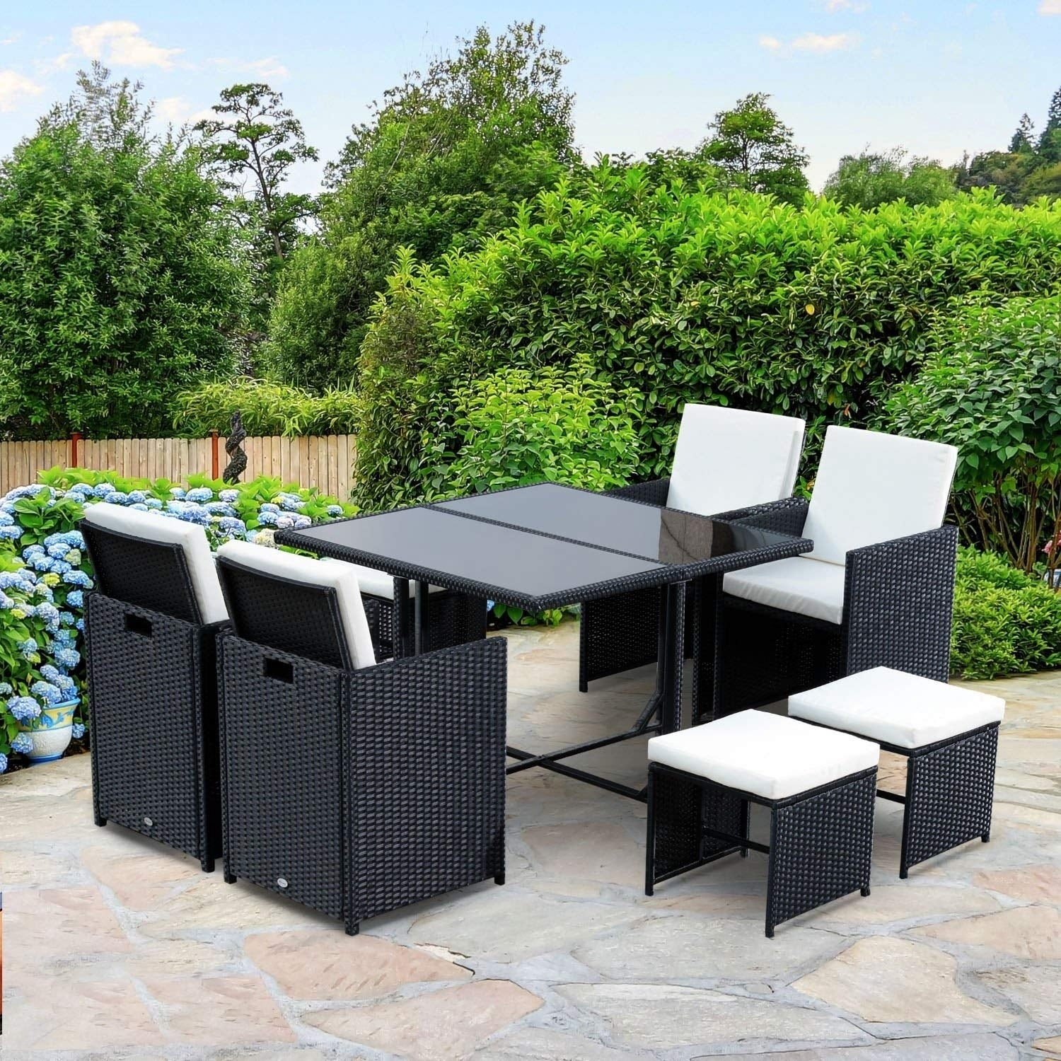 Outsunny 9 Piece Outdoor Rattan Wicker Dining Table And Chairs Patio Furniture Set Free Shipping Today 22286604