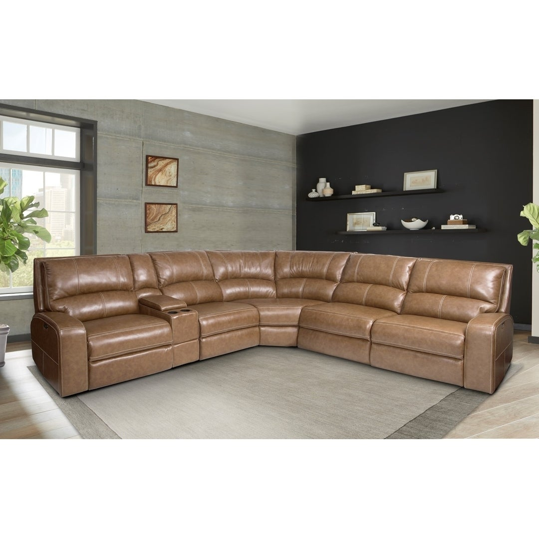 Symon Caramel Top Grain Leather Reclining Sectional Sofa On Free Shipping Today 22292536