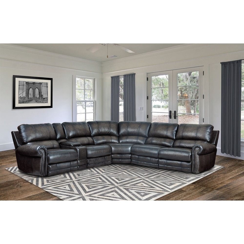 Shop Hartford Grey Top Grain Leather Power Reclining Sectional Sofa ...