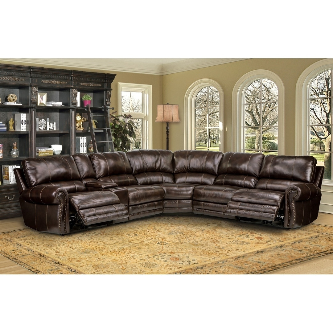 Shop Hartford Brown Top Grain Leather Power Reclining Sectional Sofa ...