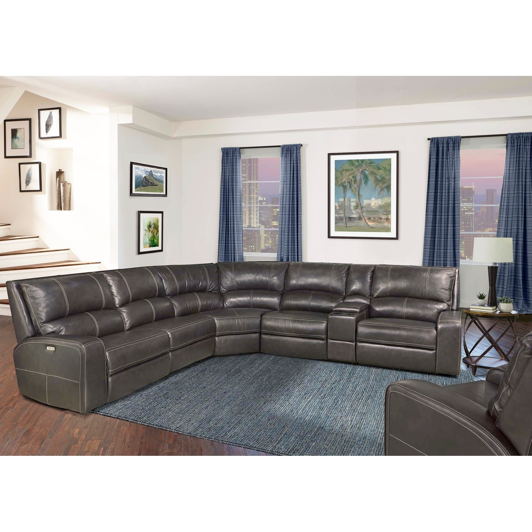 Shop symon grey top grain leather power reclining sectional and arm chair set free shipping today overstock com 22292574
