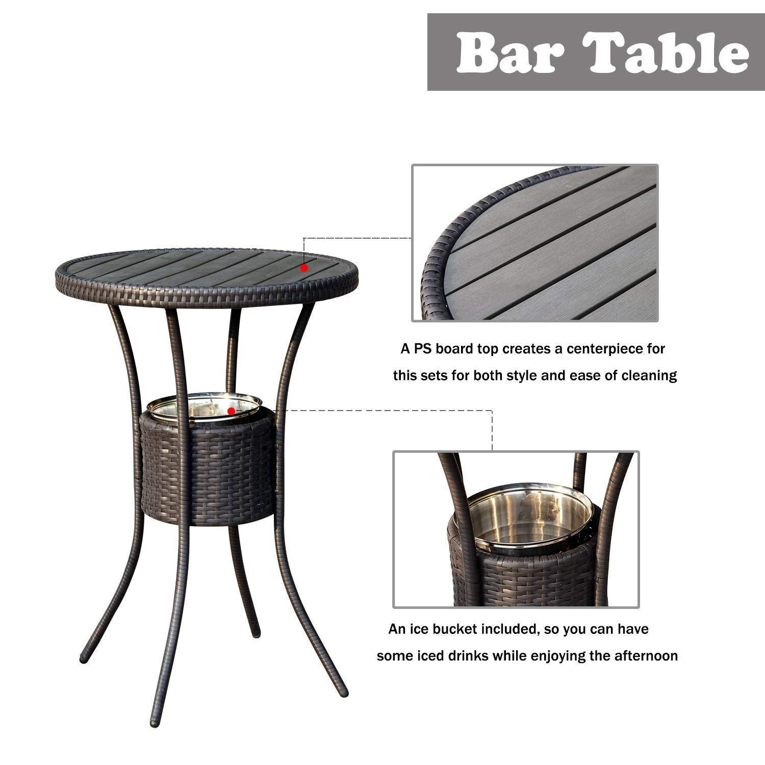 Outsunny 3 Piece Outdoor Patio Rattan Wicker Bar Stool Bistro Set With Ice Buckets Free Shipping Today 22300751