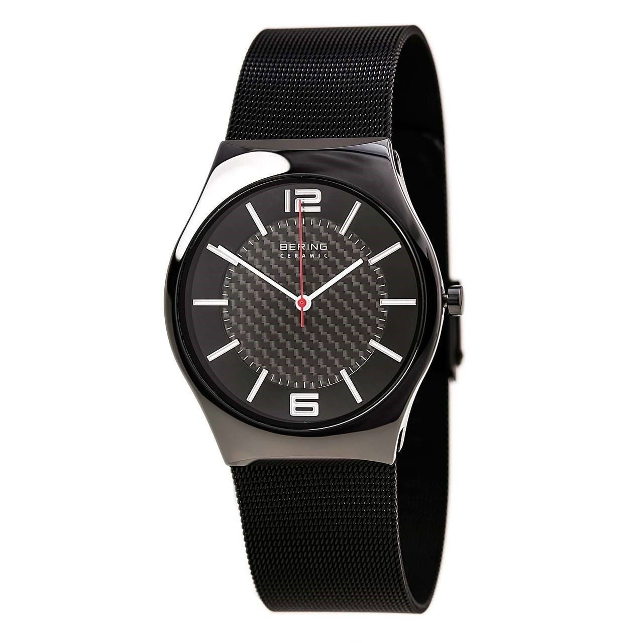 BERING Ceramic Slim Watch With Sapphire Crystal & Black Stainless Steel  Strap