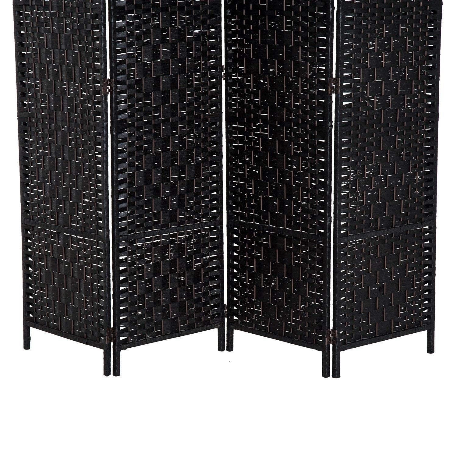Homcom 6 Tall Wicker Weave Four Panel Room Divider Privacy