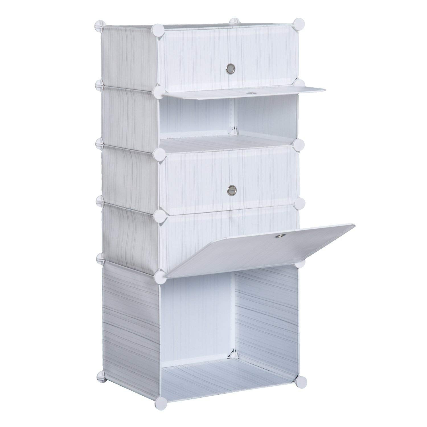 Shop HomCom 5 Drawer Storage Cube Stackable Portable Wardrobe Cabinet With  Doors   Free Shipping On Orders Over $45   Overstock.com   22310107