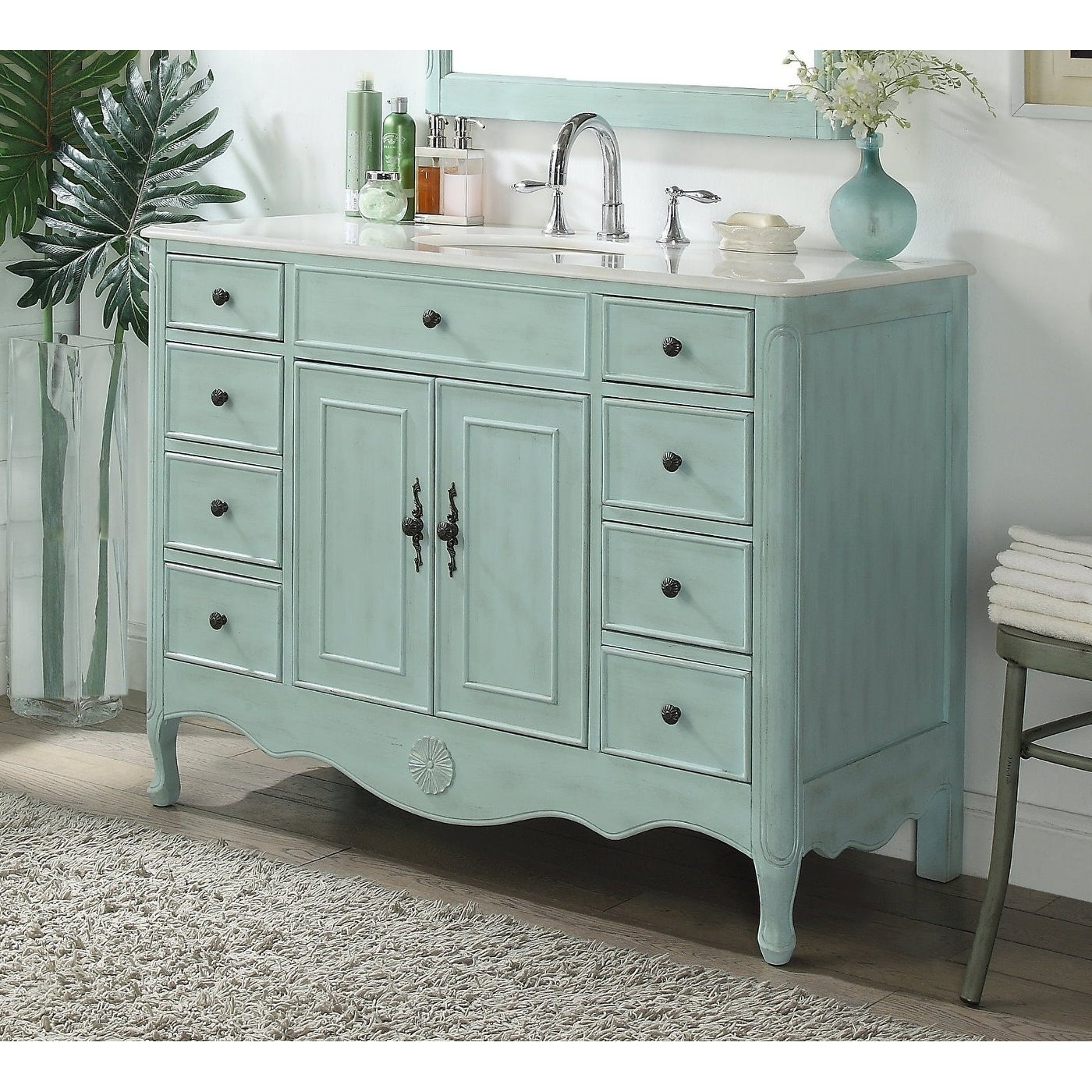 "Shop 46 5"" Benton Collection Daleville Light Blue Shabby Chic Vanity"