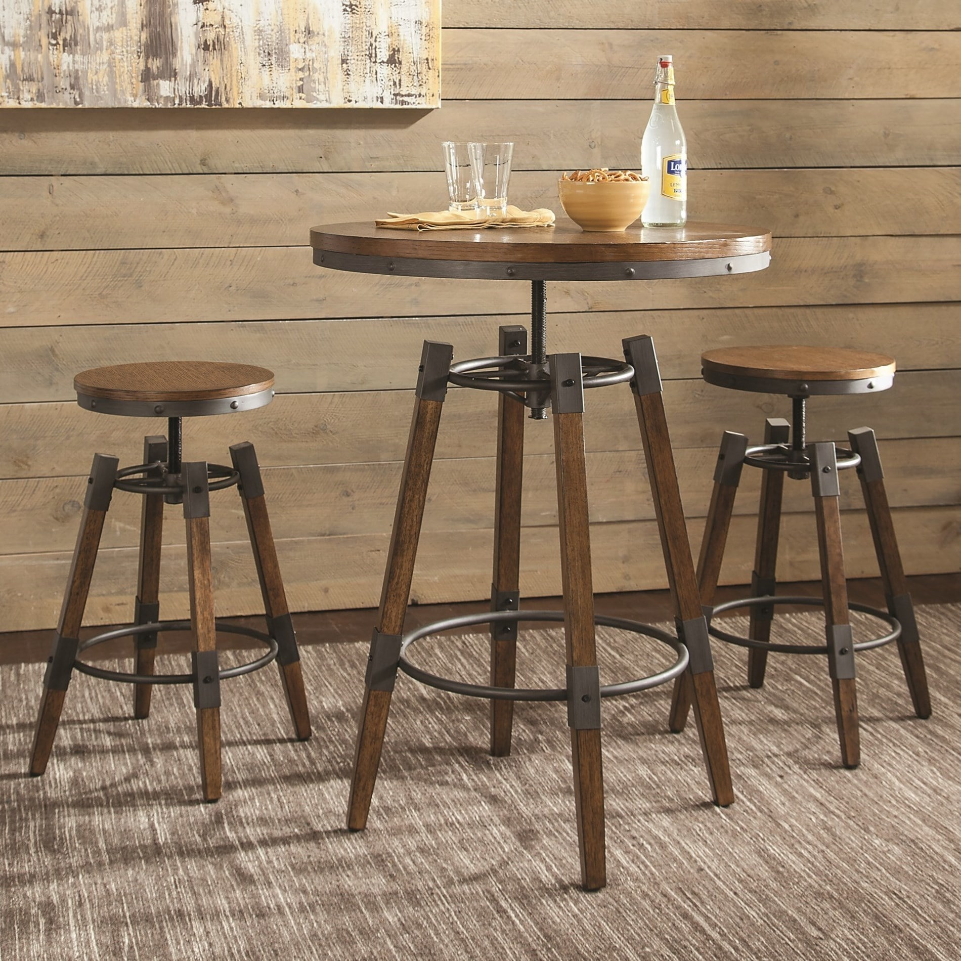 Rustic Design Adjule Bar Dining Set Free Shipping Today 22310221