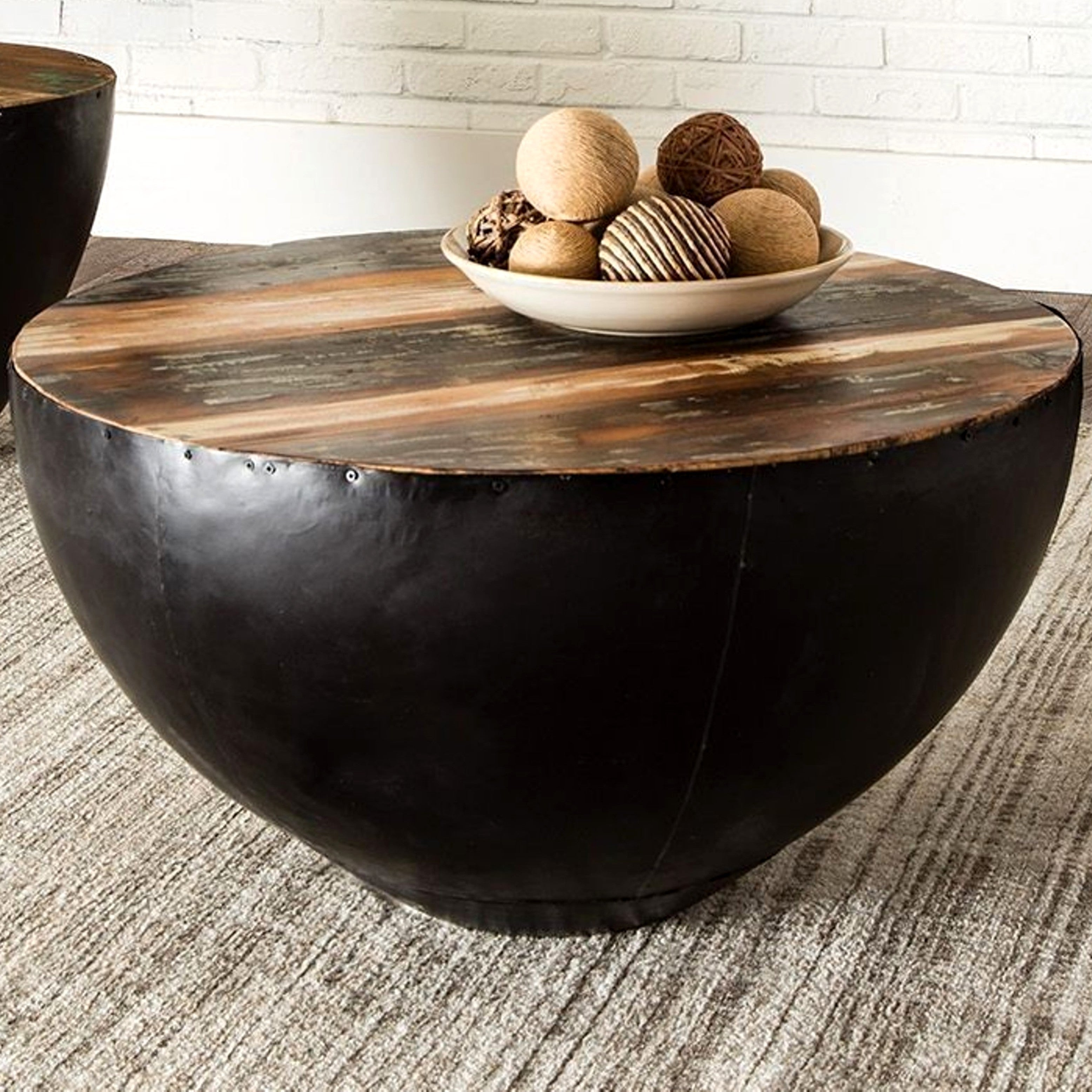 Drum Shaped Coffee Table.Black Iron Drum Shaped Accent Coffee Table With Natural Reclaimed Wood Top