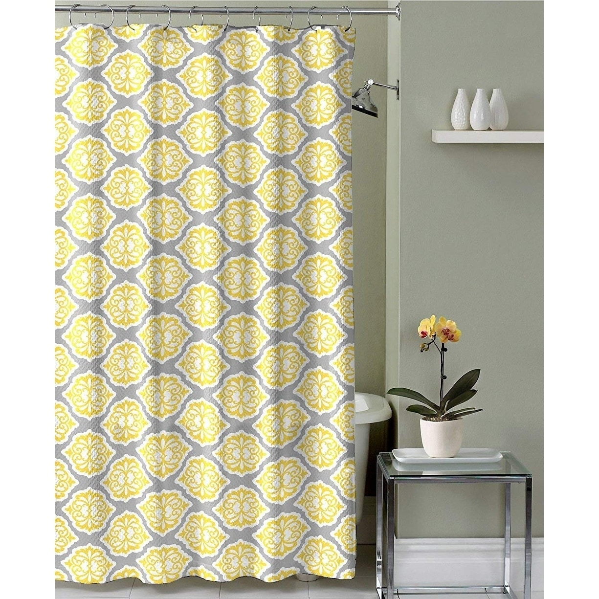 Shop Grey Lemon Yellow Fabric Shower Curtain: Modern Floral Moroccan ...