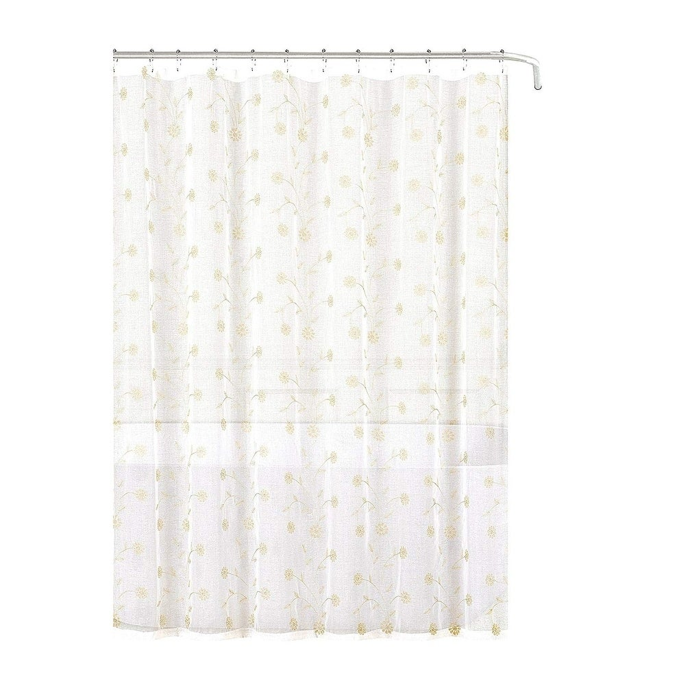 Shop Decorative Sheer Fabric Shower Curtain Beige Gold Embroidered Flowers
