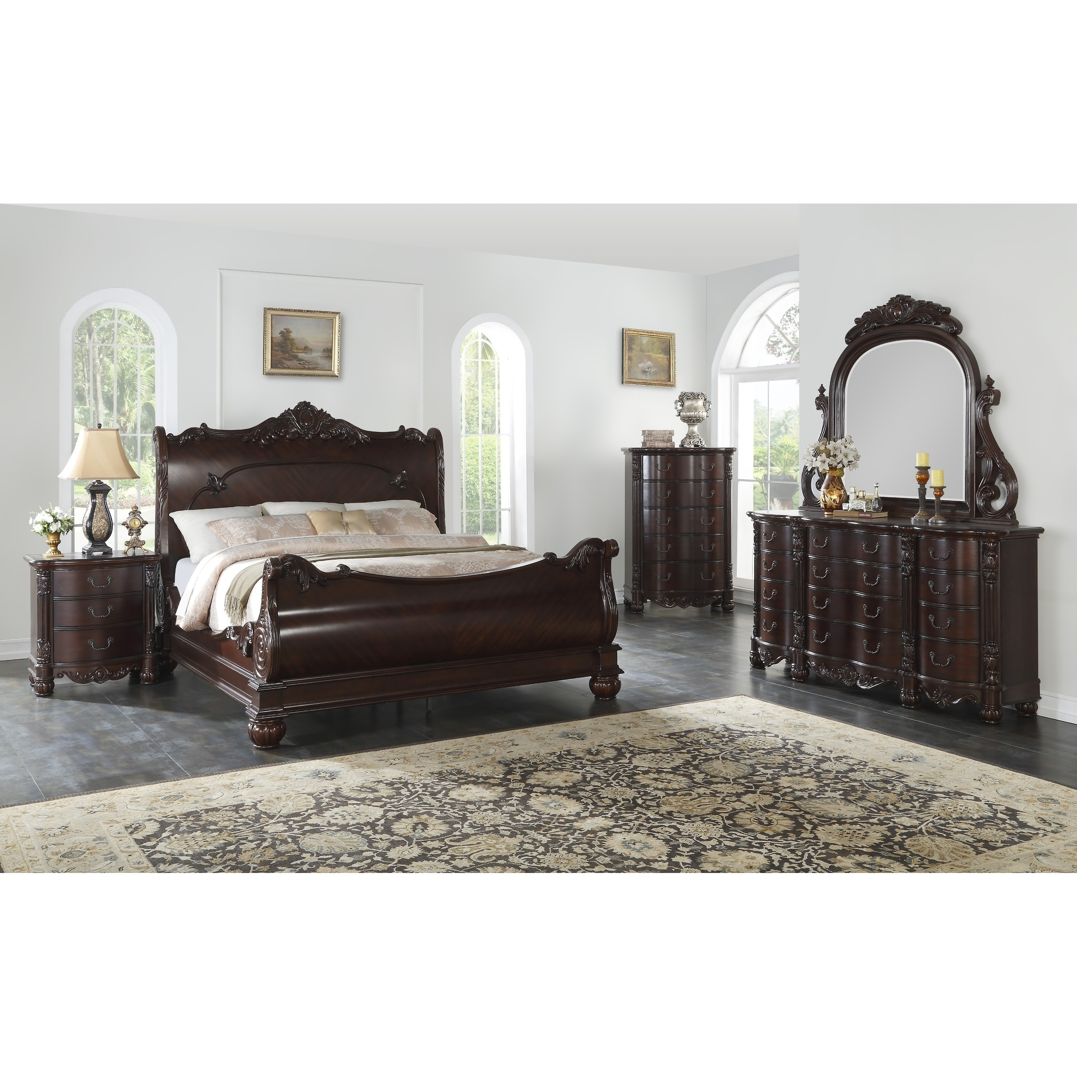 Saillans Cherry Finish Solid Wood Construction Bedroom Set with Bed,  Dresser and Mirror, Nightstand, Chest